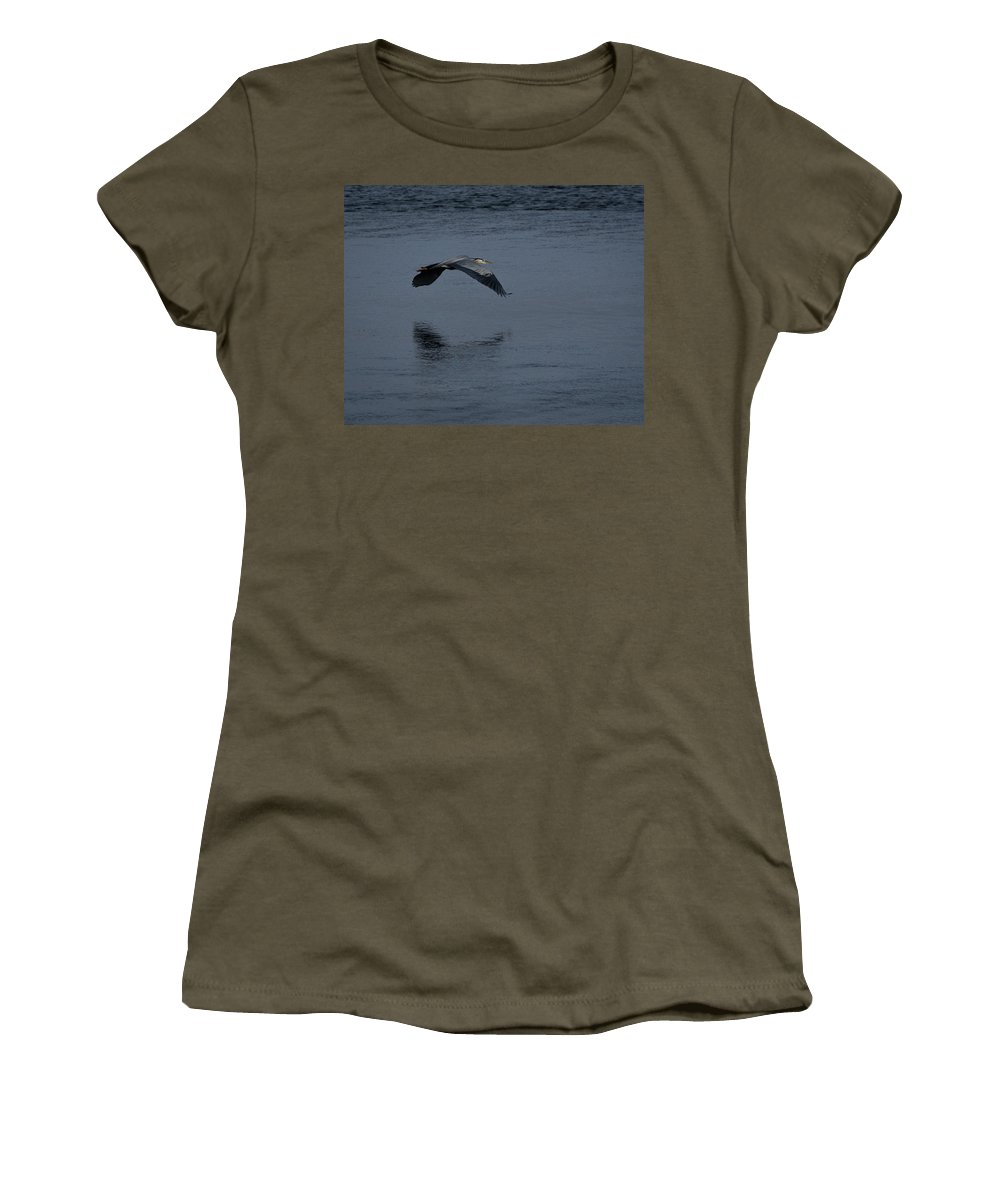 Great Blue Herons Women's T-Shirt featuring the photograph Heron Reflections 2 by Ernie Echols