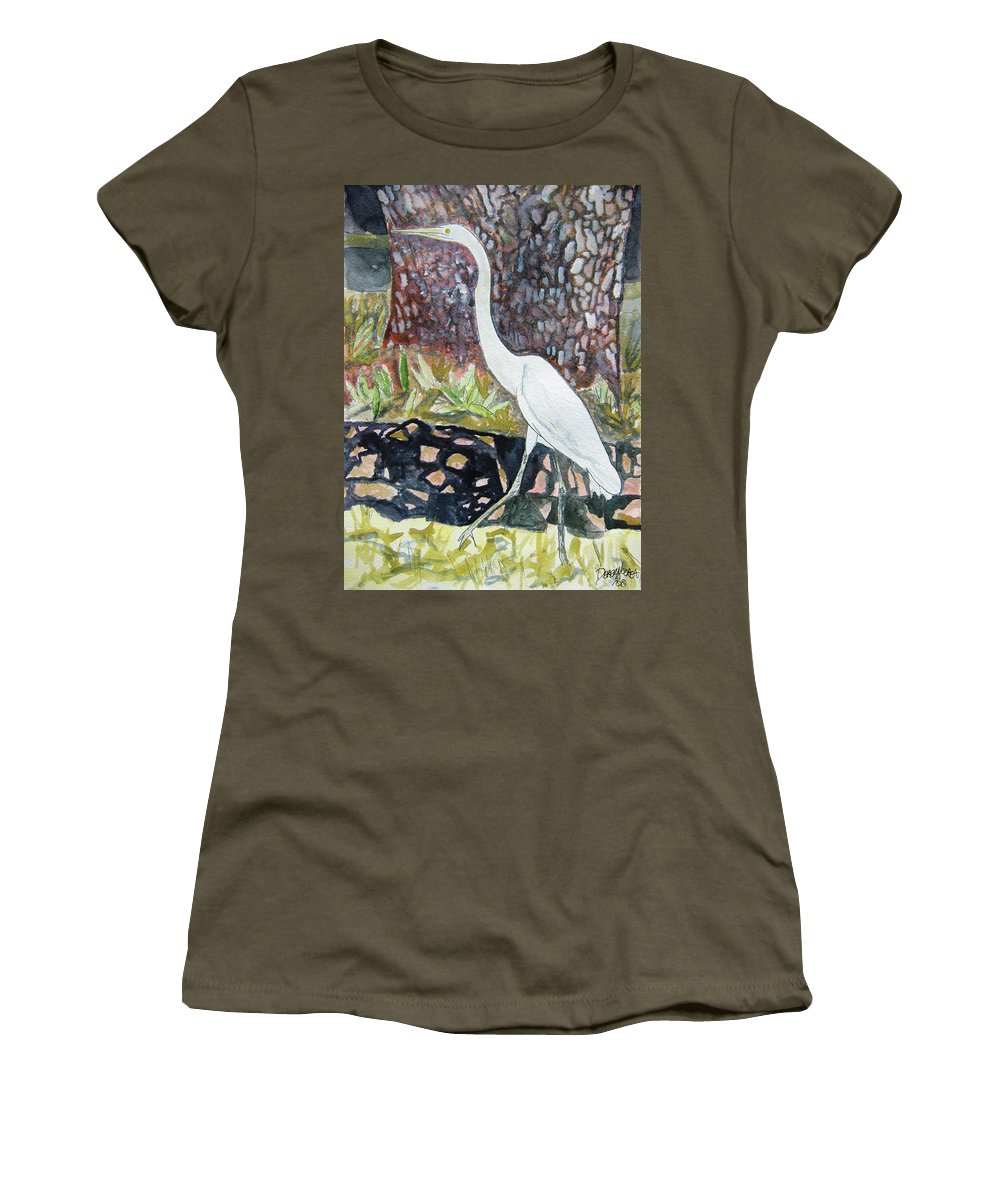Bird Women's T-Shirt featuring the painting Herron by Derek Mccrea