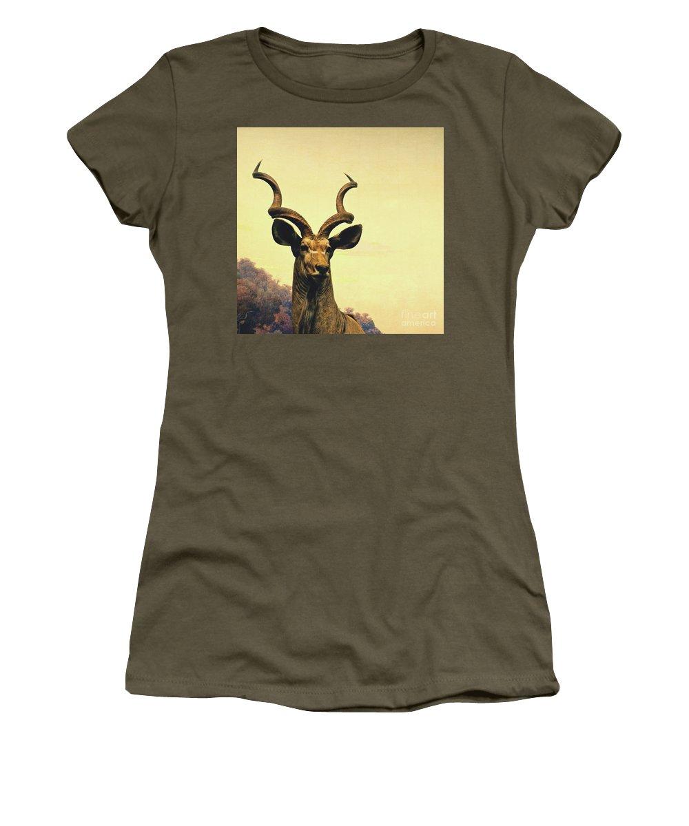 Animal Women's T-Shirt (Athletic Fit) featuring the photograph Hi, I Am Kudu by Zena Zero