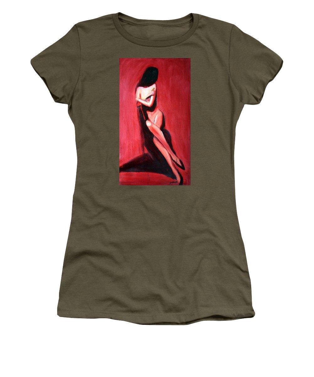 Art Women's T-Shirt featuring the painting Hidden Heart by Jarmo Korhonen aka Jarko