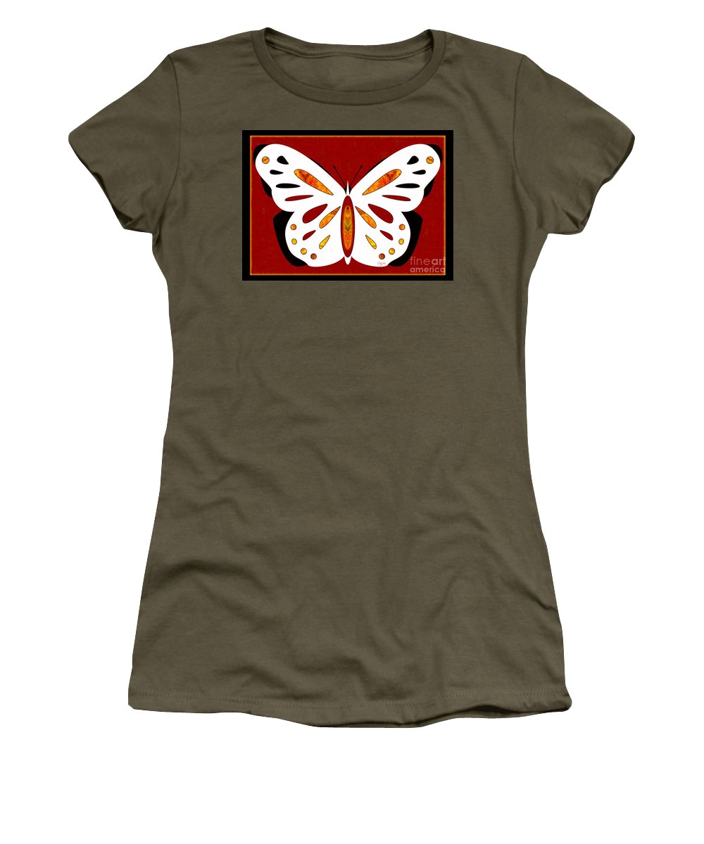 5x7 Women's T-Shirt featuring the digital art Hidden Possibilities And Abstract Butterflies By Omashte by Omaste Witkowski