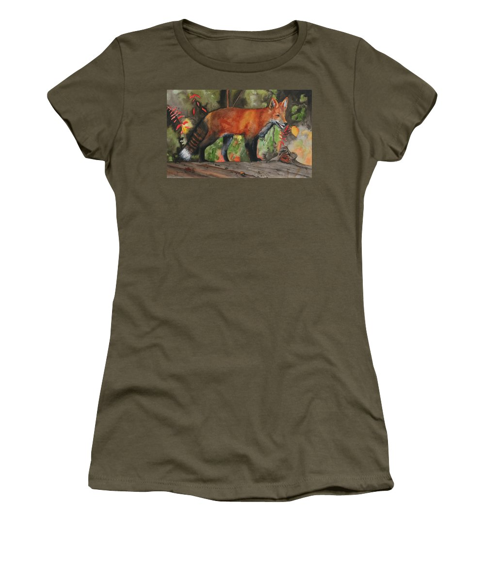 Fox Women's T-Shirt (Athletic Fit) featuring the painting Hiding In Plain Sight by Jean Blackmer