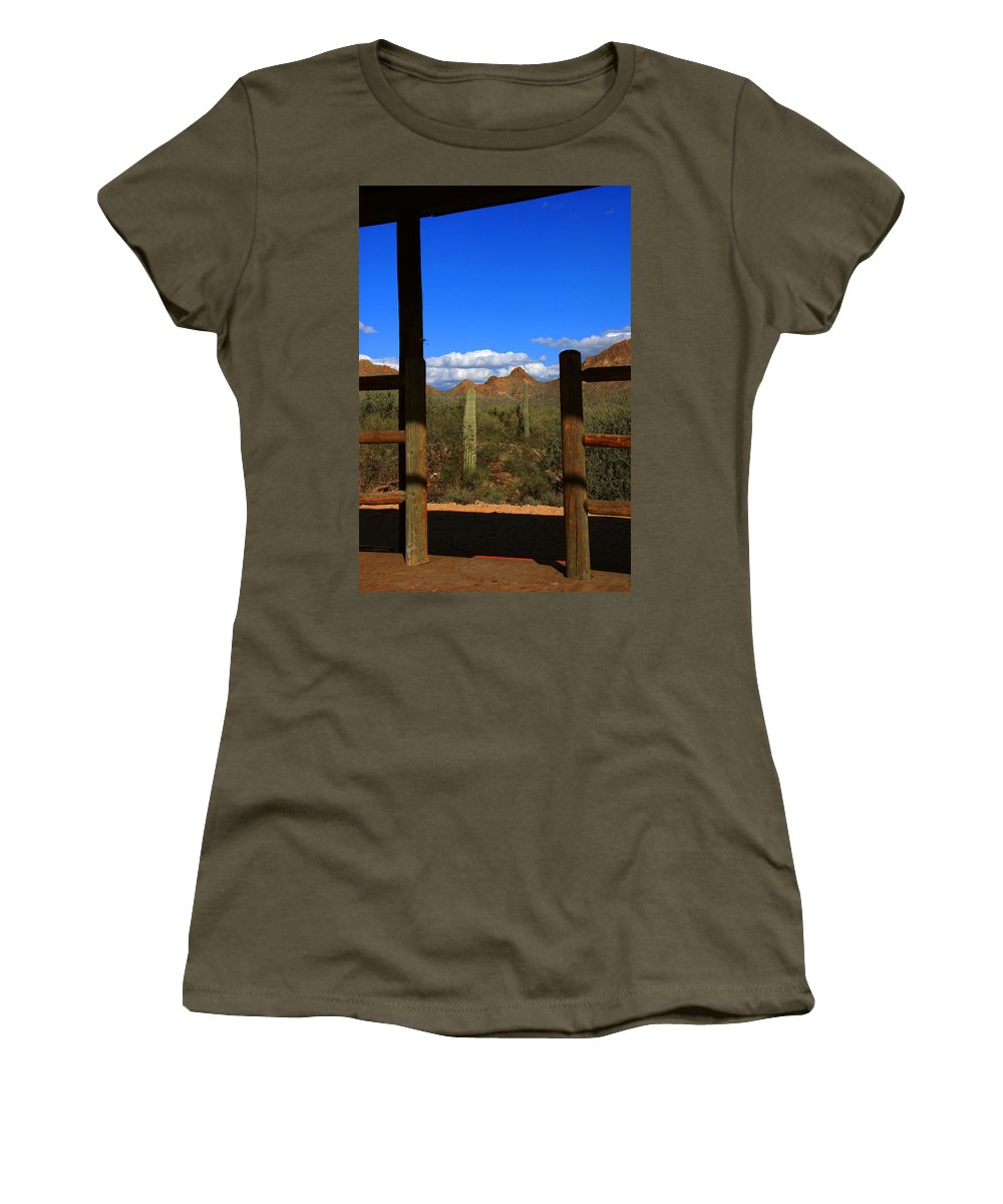 High Chaparral Women's T-Shirt featuring the photograph High Chaparral - Mountain View by Susanne Van Hulst