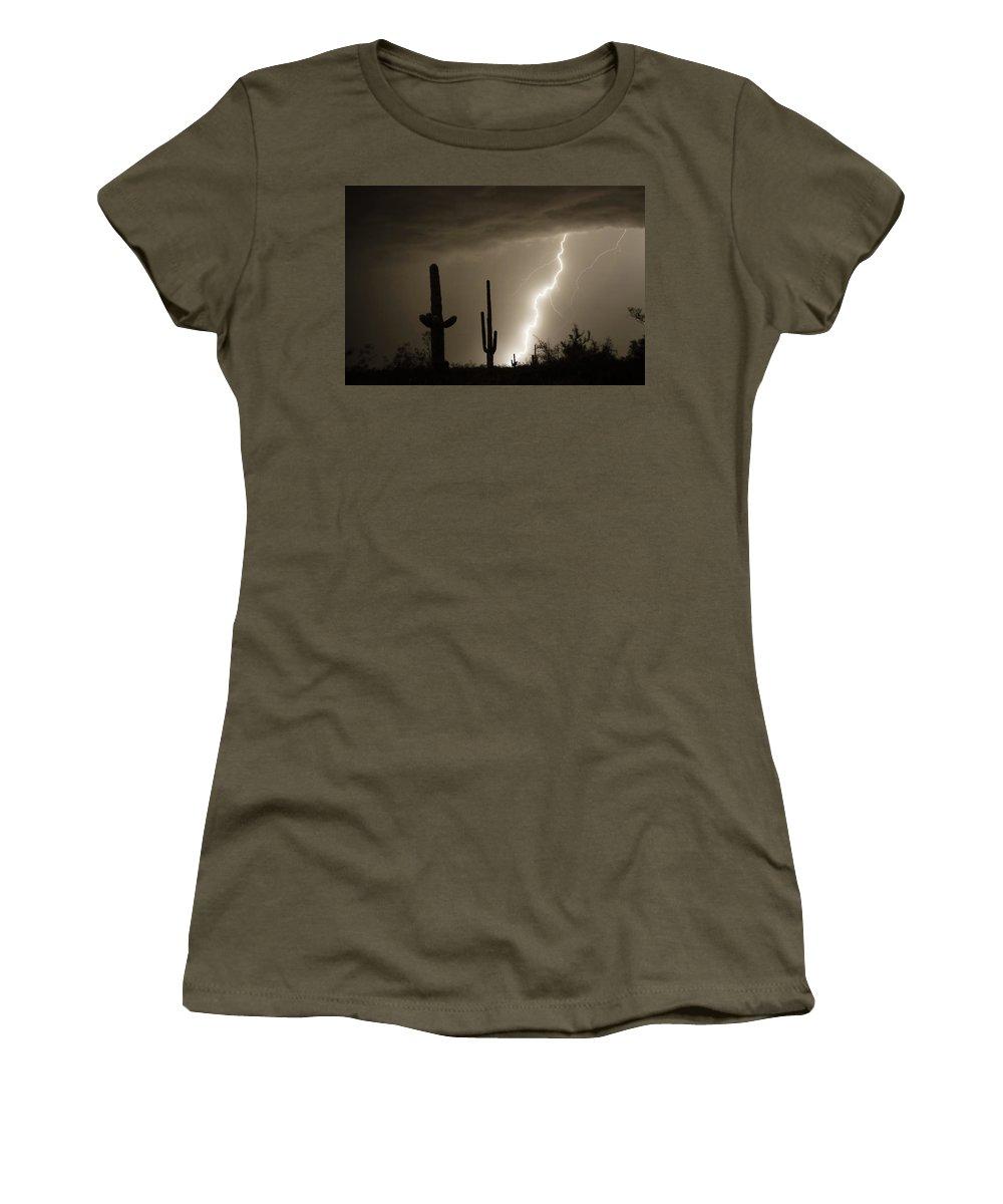 Lightning Women's T-Shirt featuring the photograph High Southwest Desert Lightning Strike by James BO Insogna