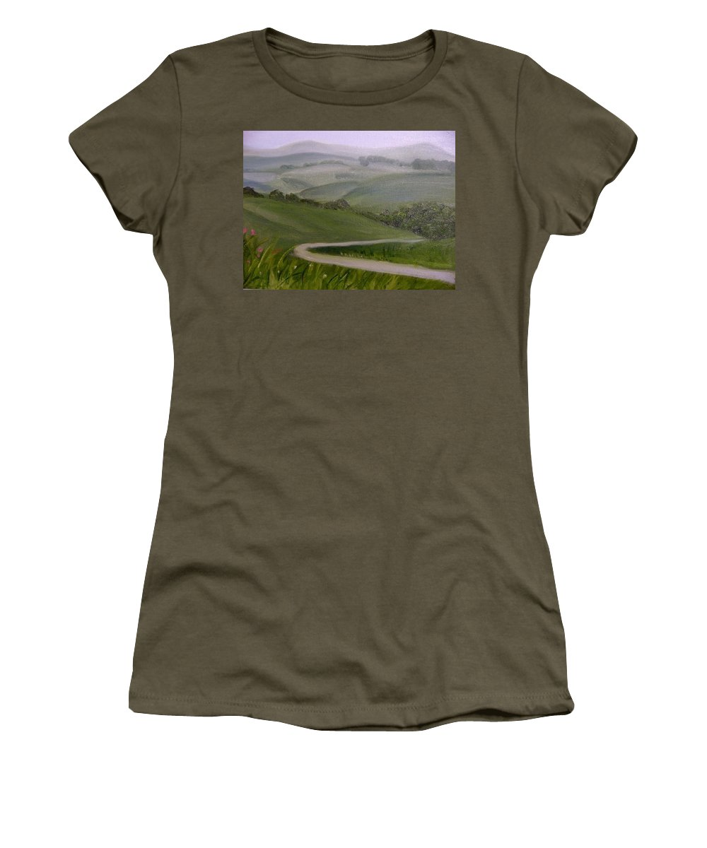 Pathway Women's T-Shirt (Athletic Fit) featuring the painting Highway Into The Hills by Toni Berry