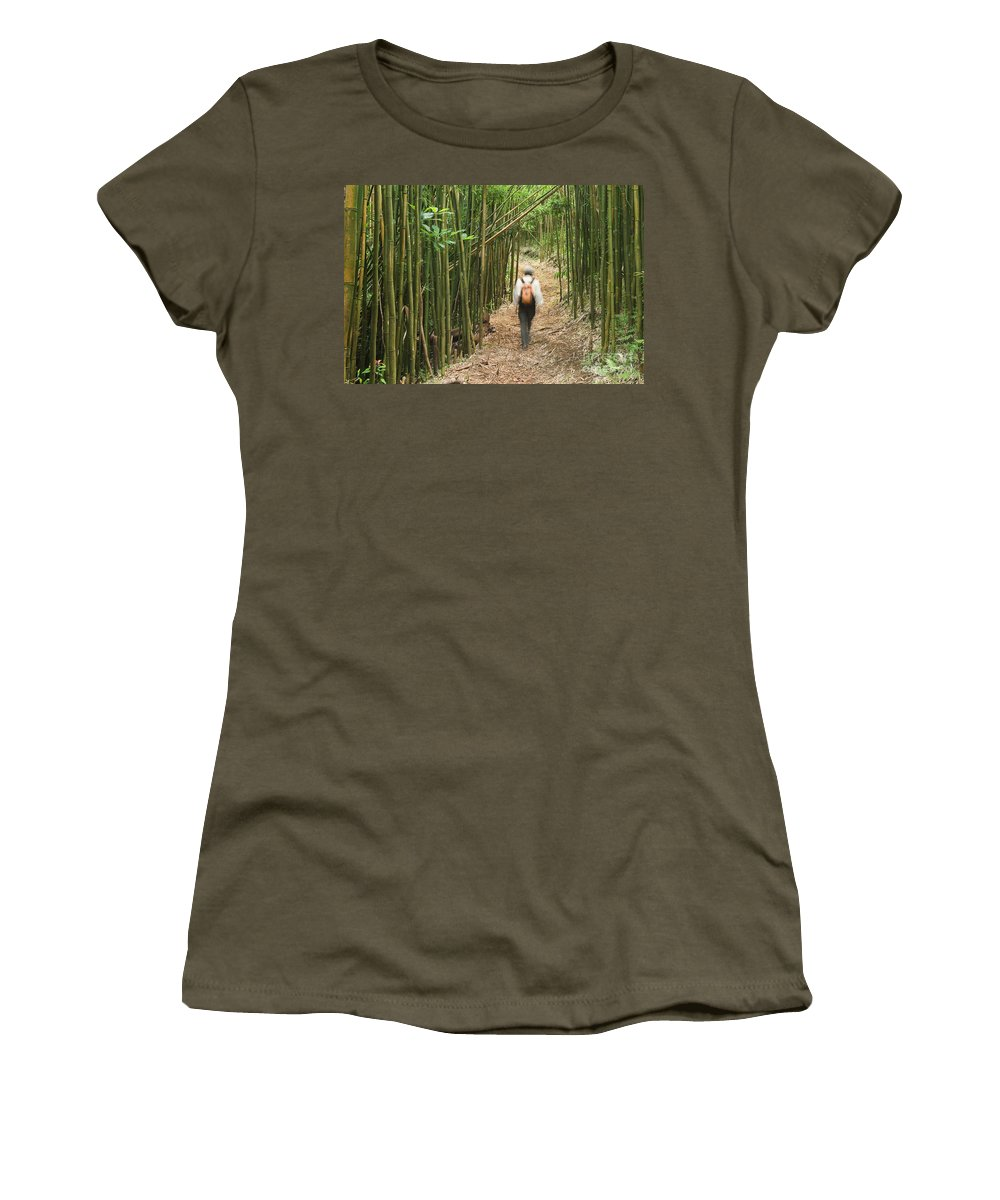 Adventure Women's T-Shirt featuring the photograph Hiker In Bamboo Forest by Greg Vaughn - Printscapes