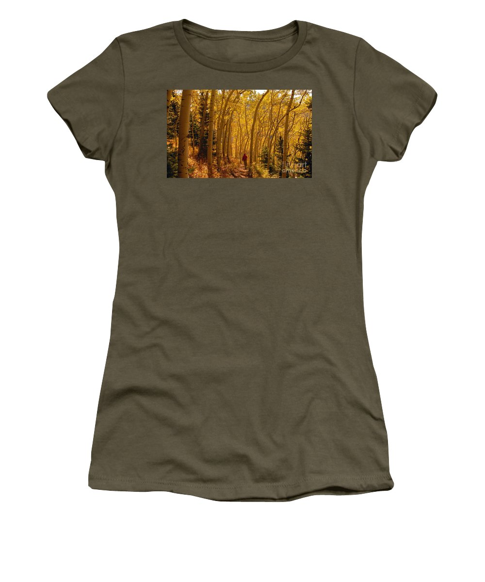 Fall Women's T-Shirt (Athletic Fit) featuring the photograph Hiking In Fall Aspens by David Lee Thompson