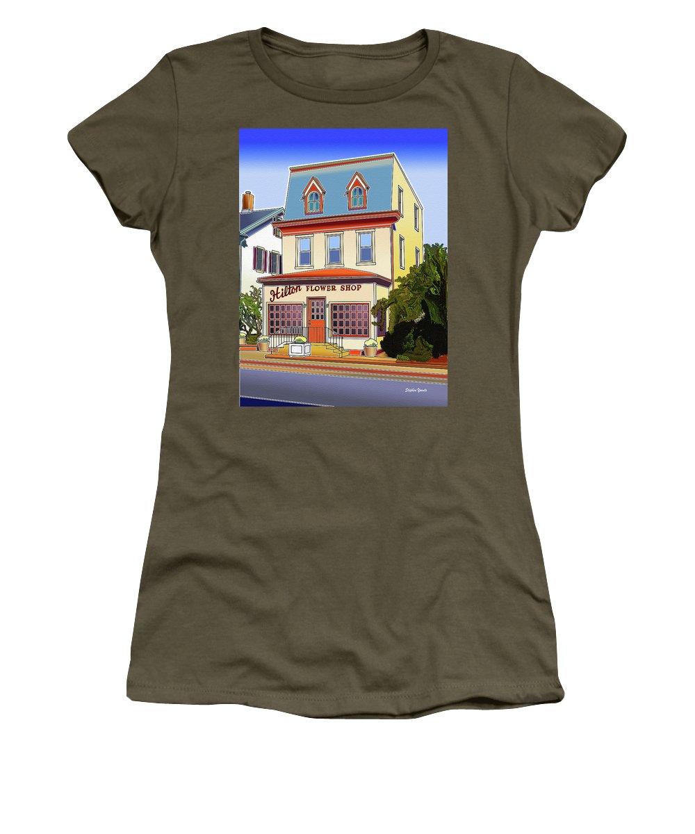 Catonsville Women's T-Shirt featuring the digital art Hilton Flower Shop by Stephen Younts