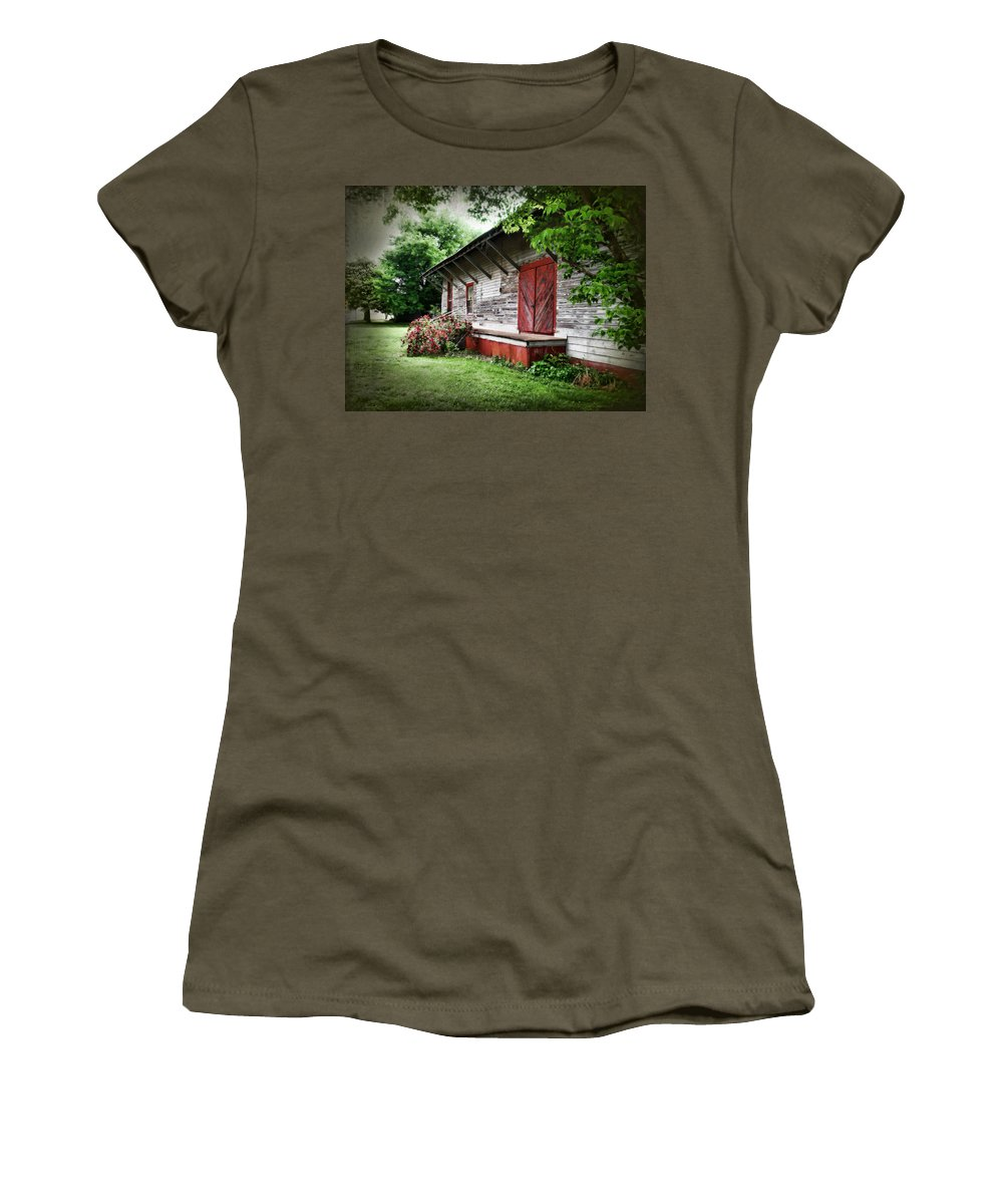 Train Women's T-Shirt featuring the photograph Historical Train Station In Belle Mina Alabama by Kathy Clark