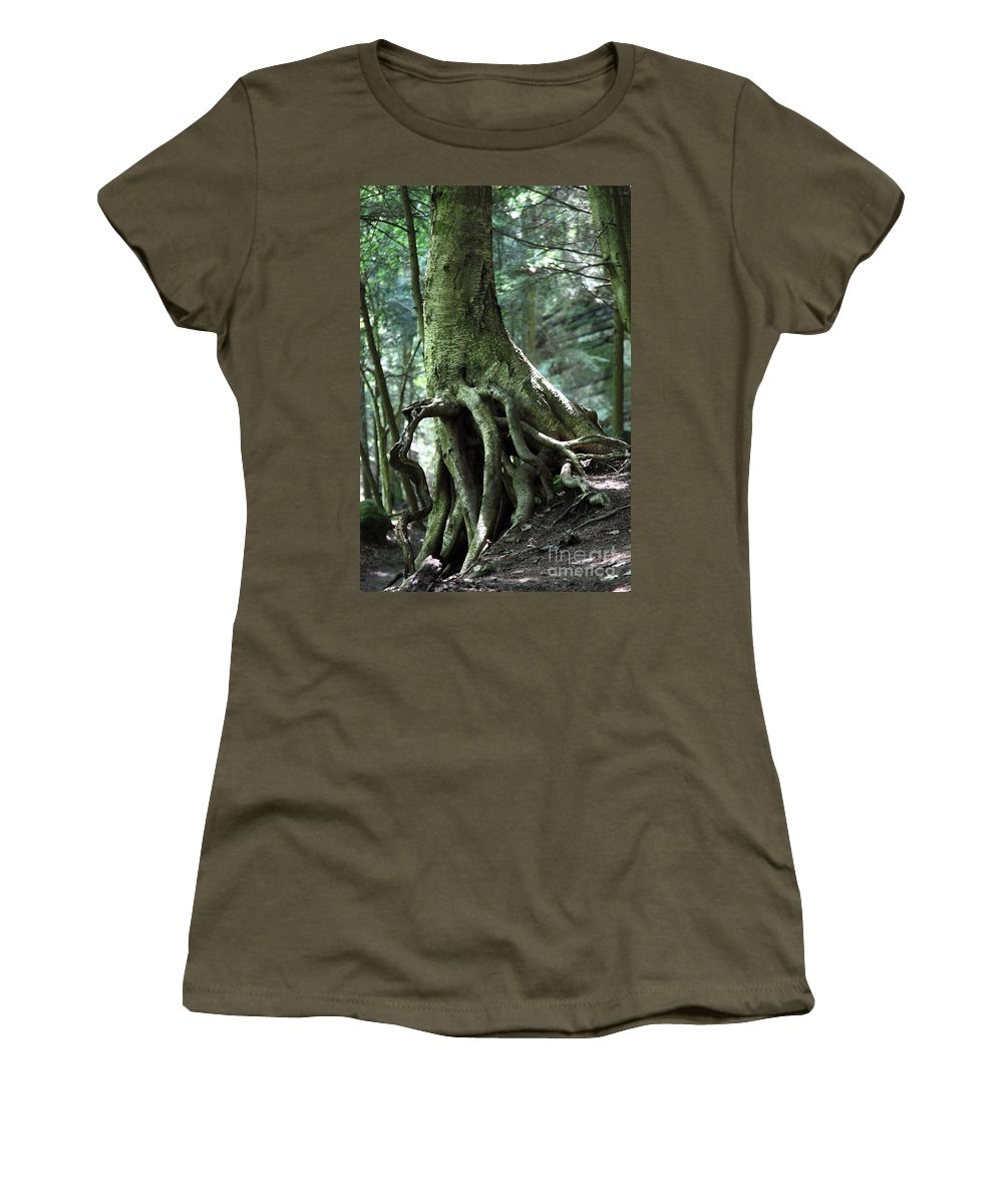 Trees Women's T-Shirt featuring the photograph Hold On To Me. by Amanda Barcon