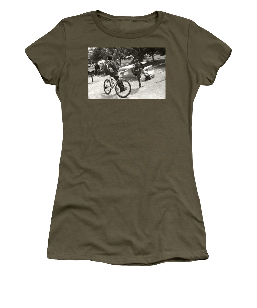 Homeless Women's T-Shirt featuring the photograph Holding Court by Heather Kirk