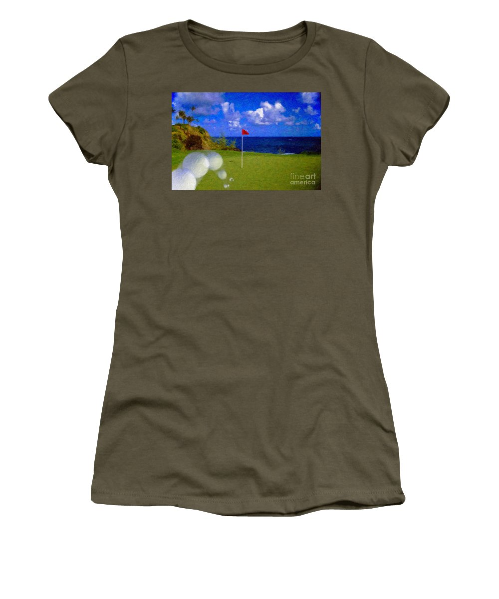 Hole In One 18th Green Ball Flag Green Ocean Palm Trees Women's T-Shirt (Athletic Fit) featuring the photograph Fantastic 18th Green by David Zanzinger