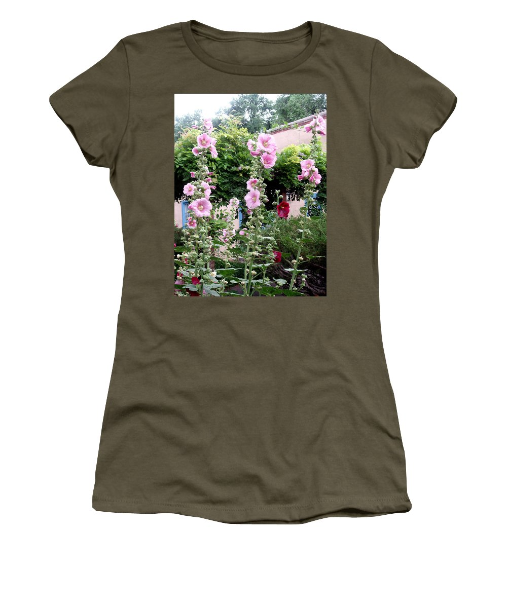Flowers Women's T-Shirt (Athletic Fit) featuring the photograph Hollyhocks Taos New Mexico by Wayne Potrafka