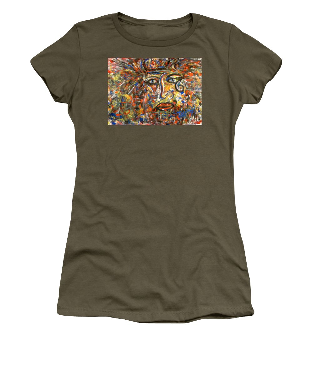 Free Expressionism Women's T-Shirt featuring the painting Holy Man by Natalie Holland