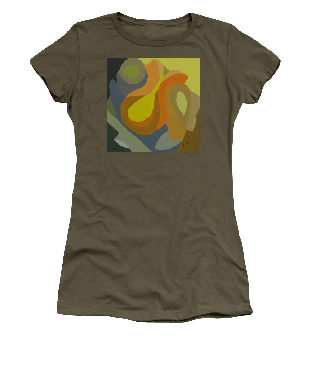 Abstract Women's T-Shirt featuring the painting Homage To The 70's by Cori Solomon