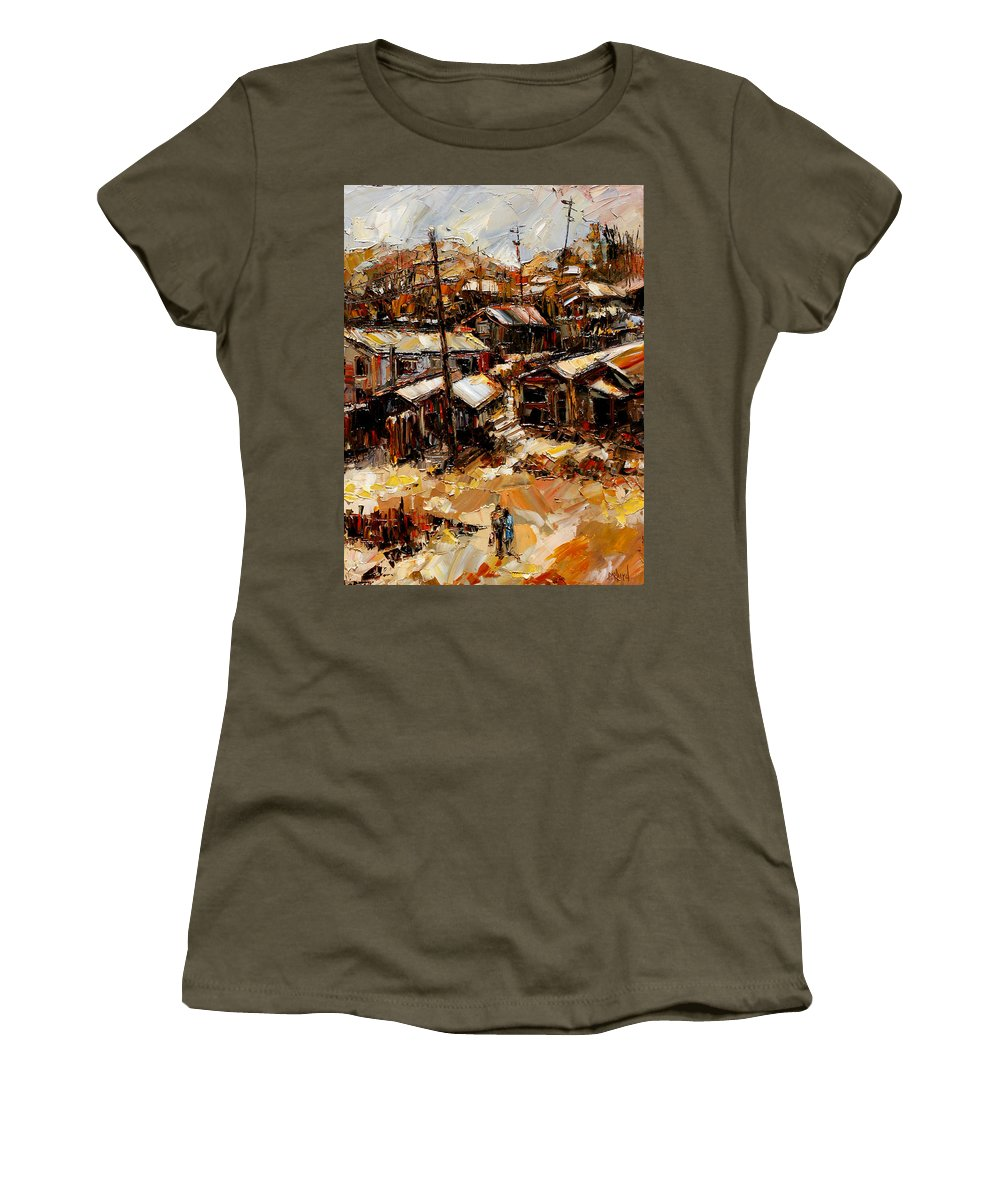 Chaves Revine Women's T-Shirt featuring the painting Homes In The Hills Chaves Revine by Debra Hurd