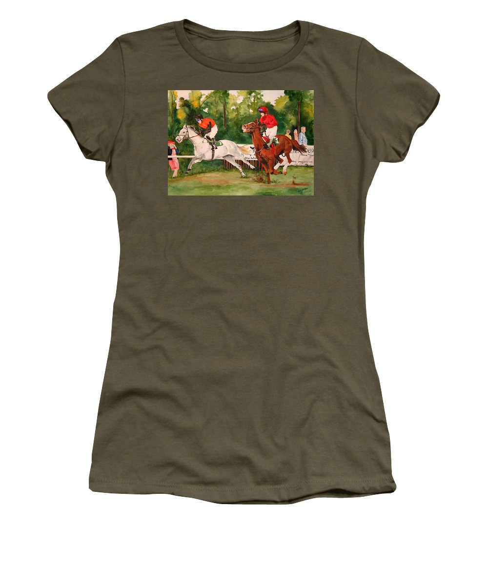 Racing Women's T-Shirt featuring the painting Homestretch by Jean Blackmer