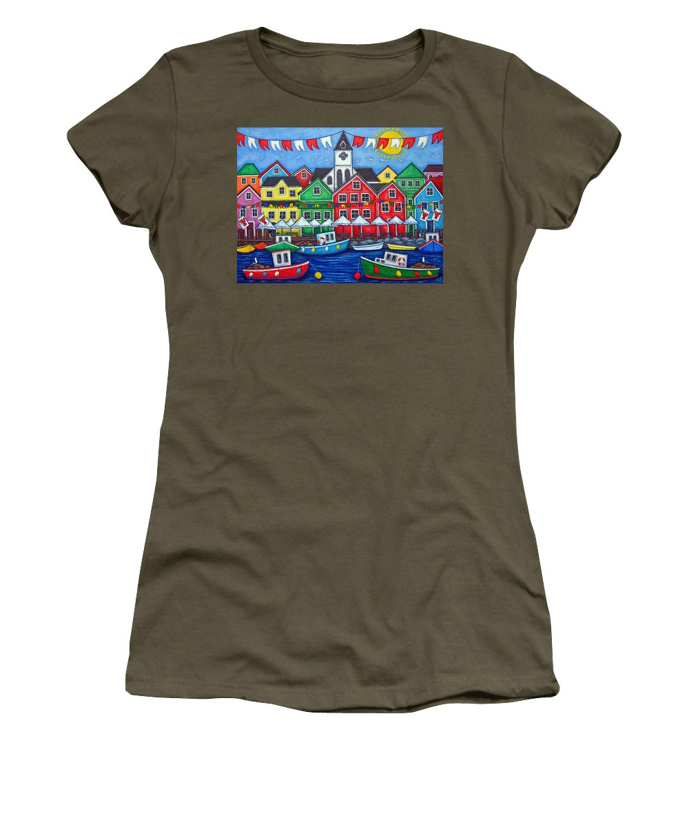 Boats Canada Colorful Docks Festival Fishing Flags Green Harbor Harbour Women's T-Shirt featuring the painting Hometown Festival by Lisa Lorenz