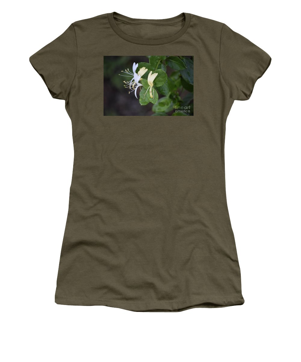 Honeysuckle Women's T-Shirt featuring the photograph Honeysuckle by Anita Goel