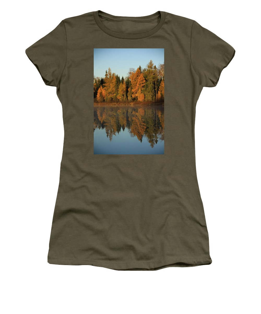 Landscape Women's T-Shirt (Athletic Fit) featuring the photograph Hooker Lake Reflections by Joi Electa