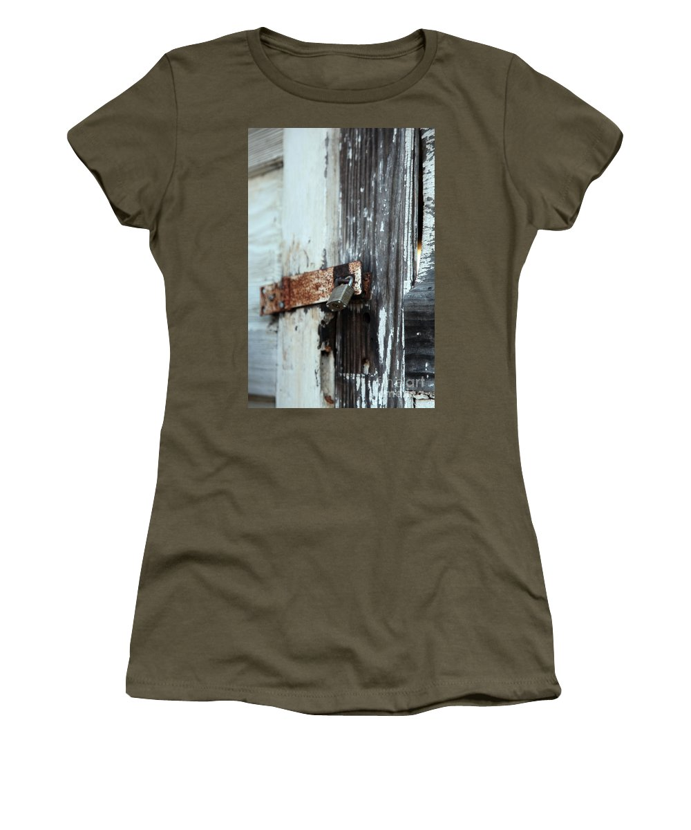hopelessly Locked Women's T-Shirt featuring the photograph Hopelessly Locked by Amanda Barcon