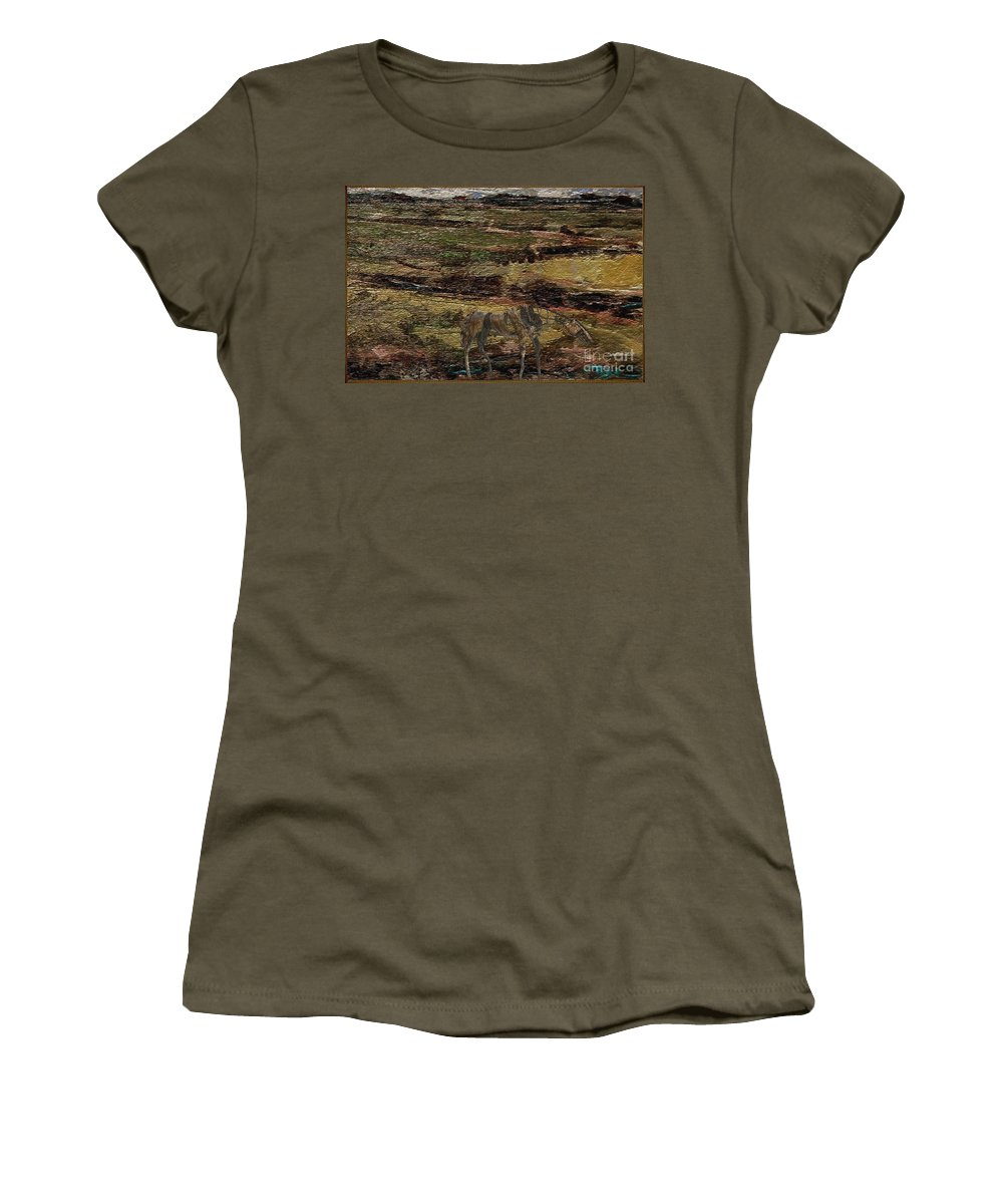 Modern Painting Women's T-Shirt featuring the mixed media Horse Statue 4 by Pemaro