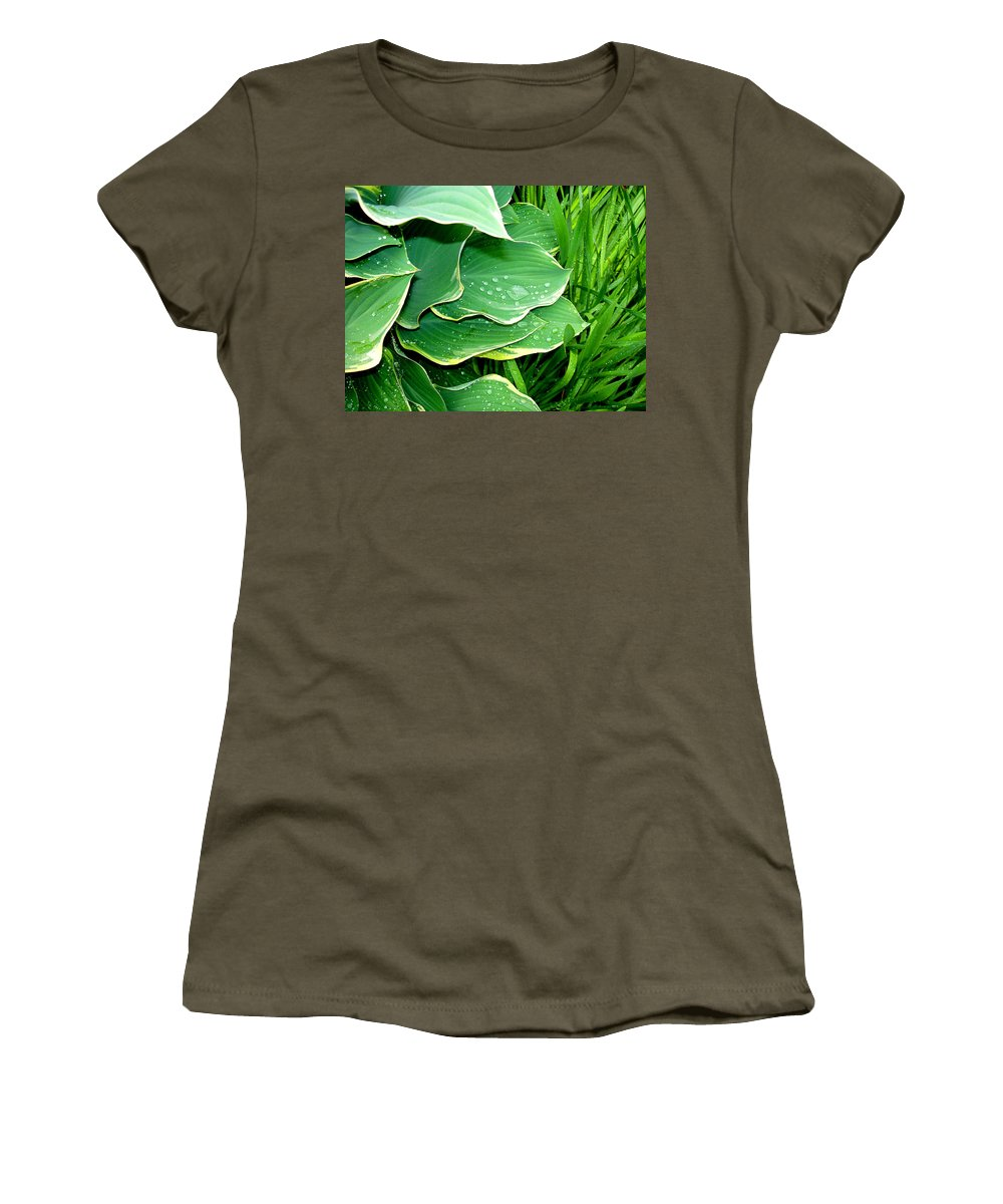 Hostas Women's T-Shirt (Athletic Fit) featuring the photograph Hosta Leaves And Waterdrops by Nancy Mueller