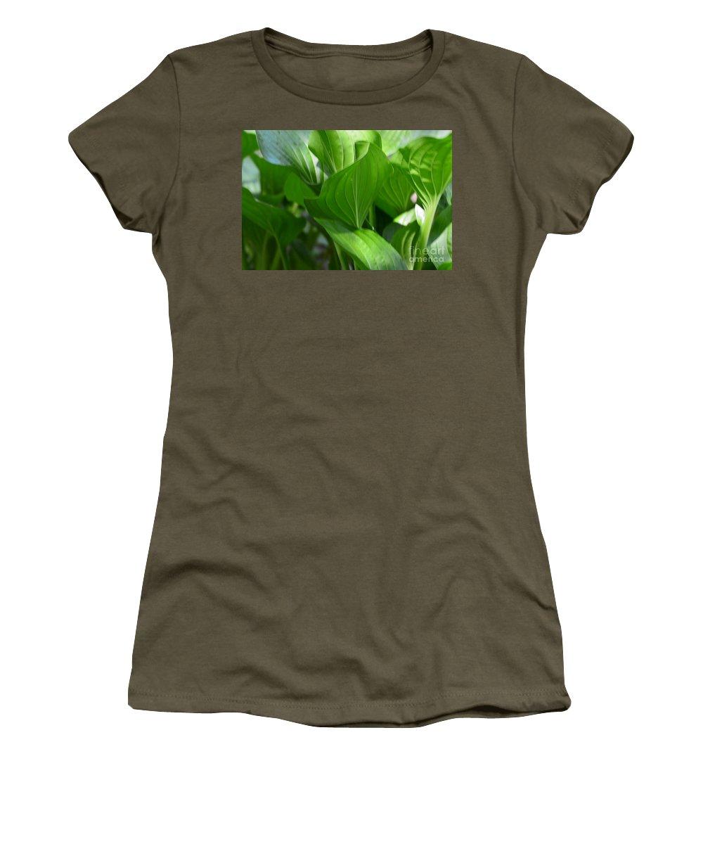 Hosta Waves Women's T-Shirt featuring the photograph Hosta Waves by Maria Urso