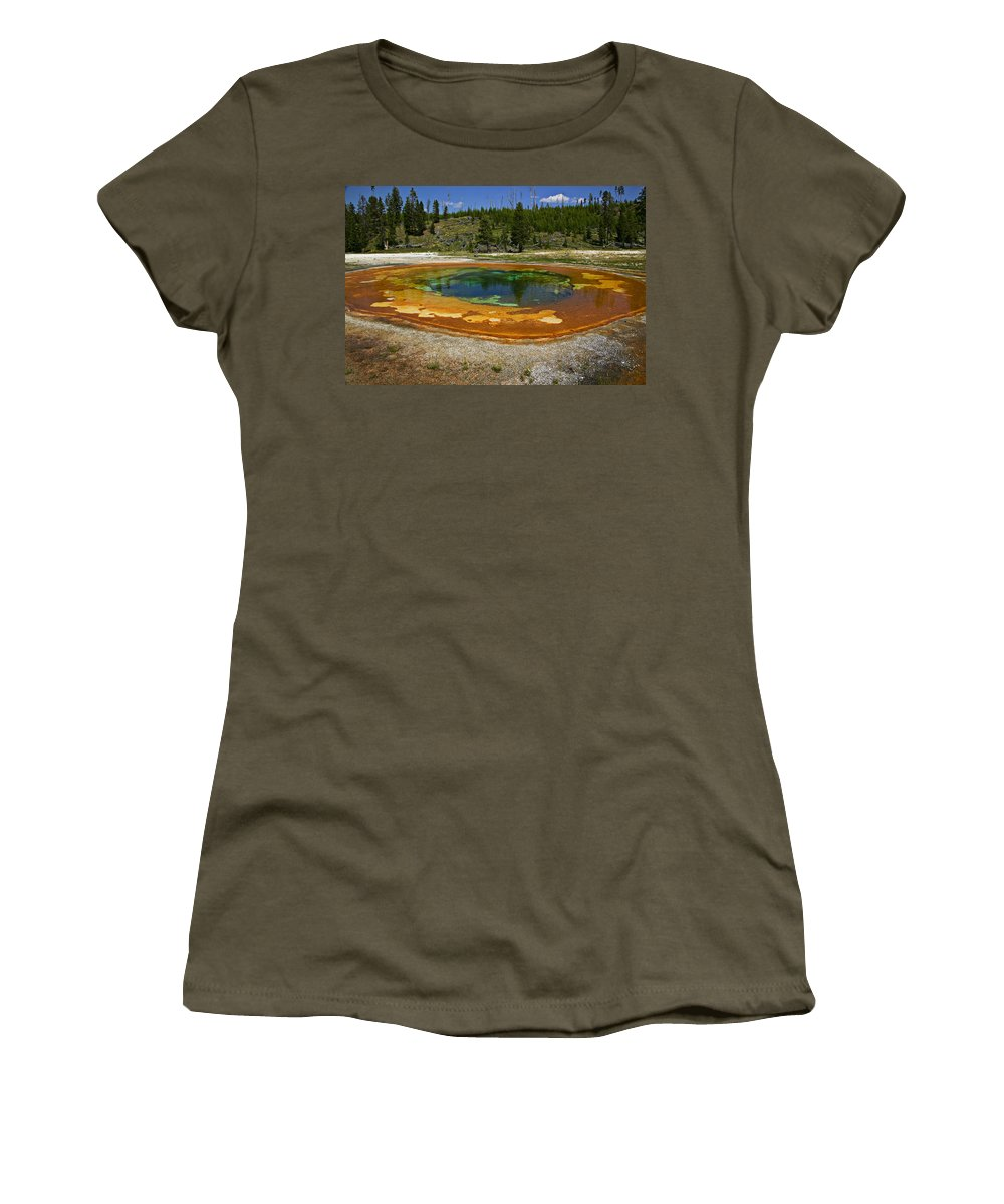 Hot Women's T-Shirt (Athletic Fit) featuring the photograph Hot Springs Yellowstone National Park by Garry Gay