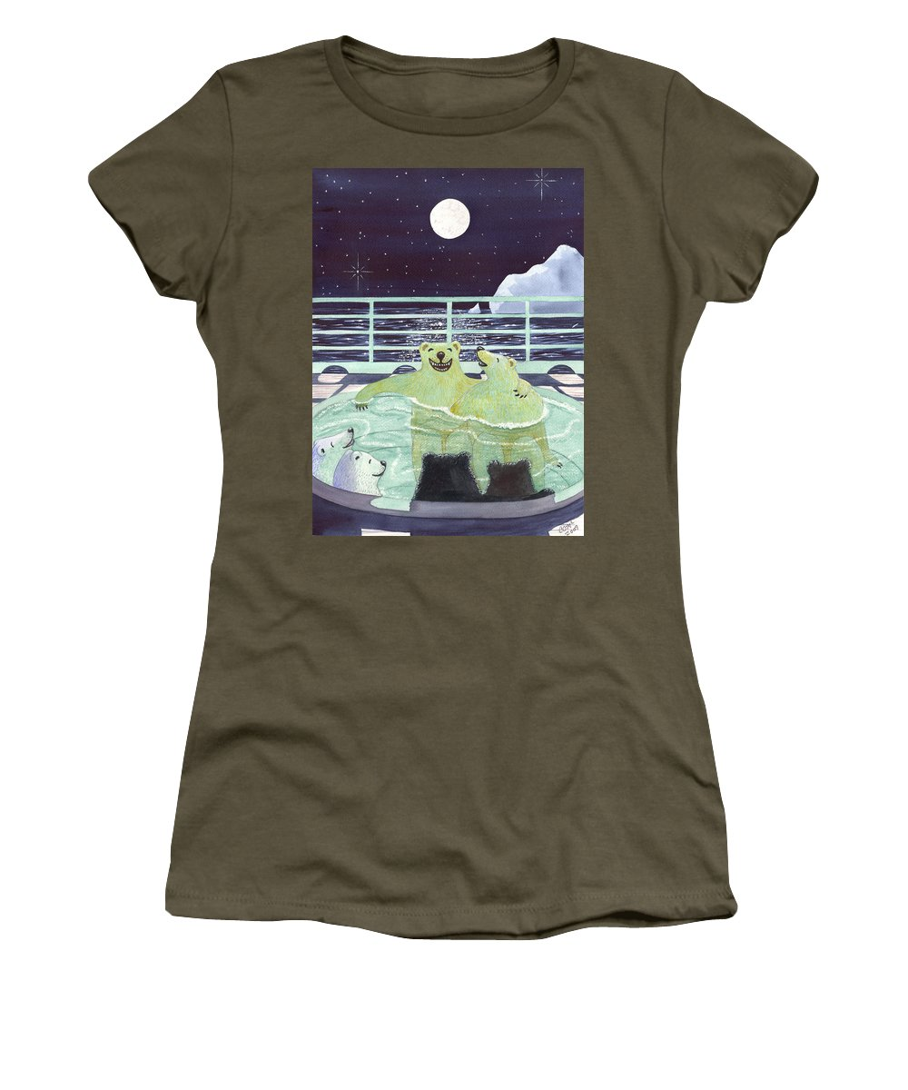 Bears Women's T-Shirt featuring the painting Hot Tubbin by Catherine G McElroy