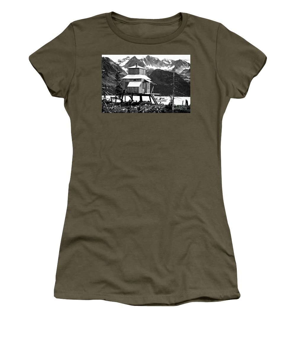 Alaska Women's T-Shirt (Athletic Fit) featuring the photograph House Of Stilts Bw by James BO Insogna