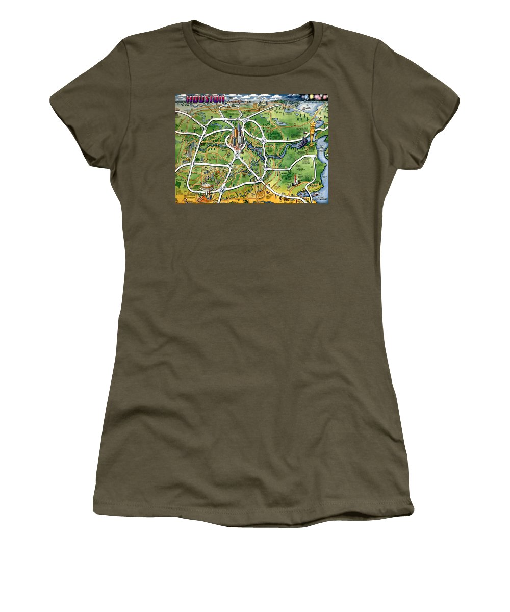 Houston Women's T-Shirt (Athletic Fit) featuring the painting Houston Texas Cartoon Map by Kevin Middleton
