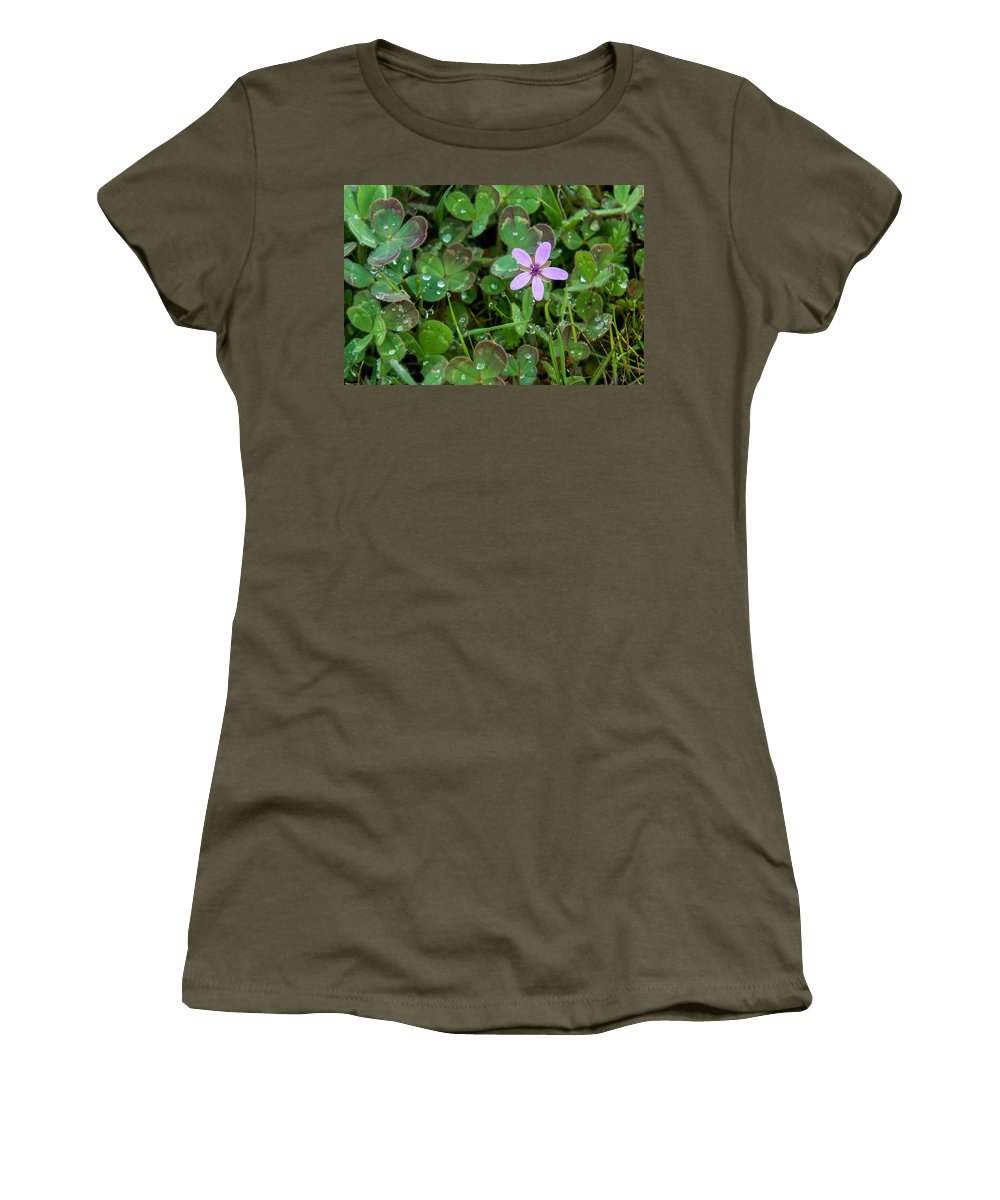 Wildflower Women's T-Shirt (Athletic Fit) featuring the photograph Huge Beauty In A Small Wildflower by Mick Anderson