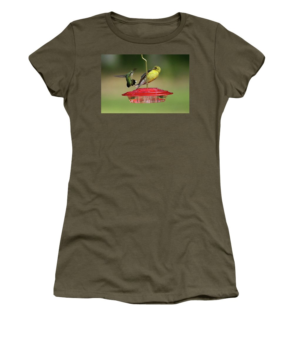Bird Women's T-Shirt featuring the photograph Hummer Vs. Finch 2 by Lou Ford