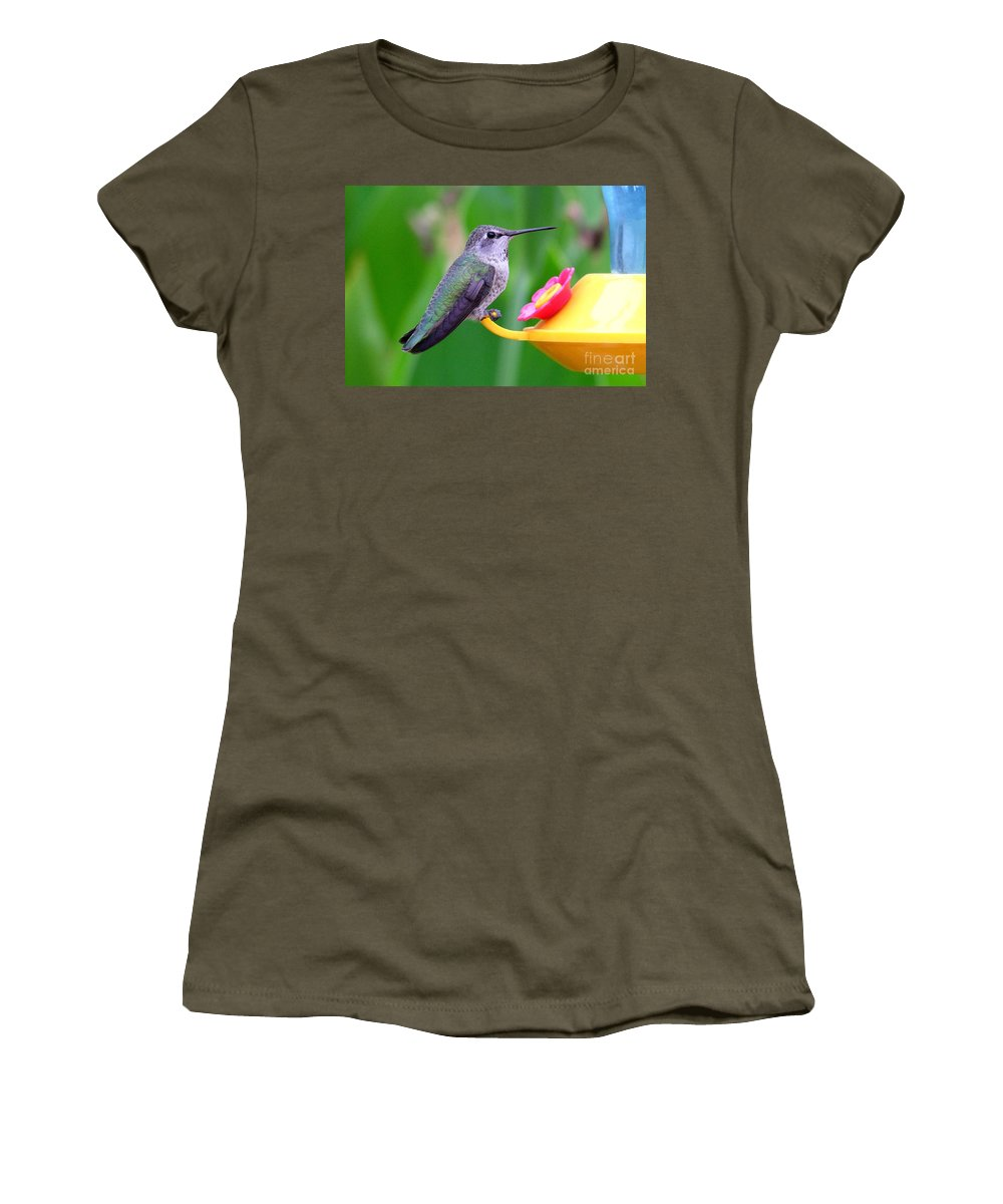 Green Women's T-Shirt featuring the photograph Hummingbird 32 by Mary Deal