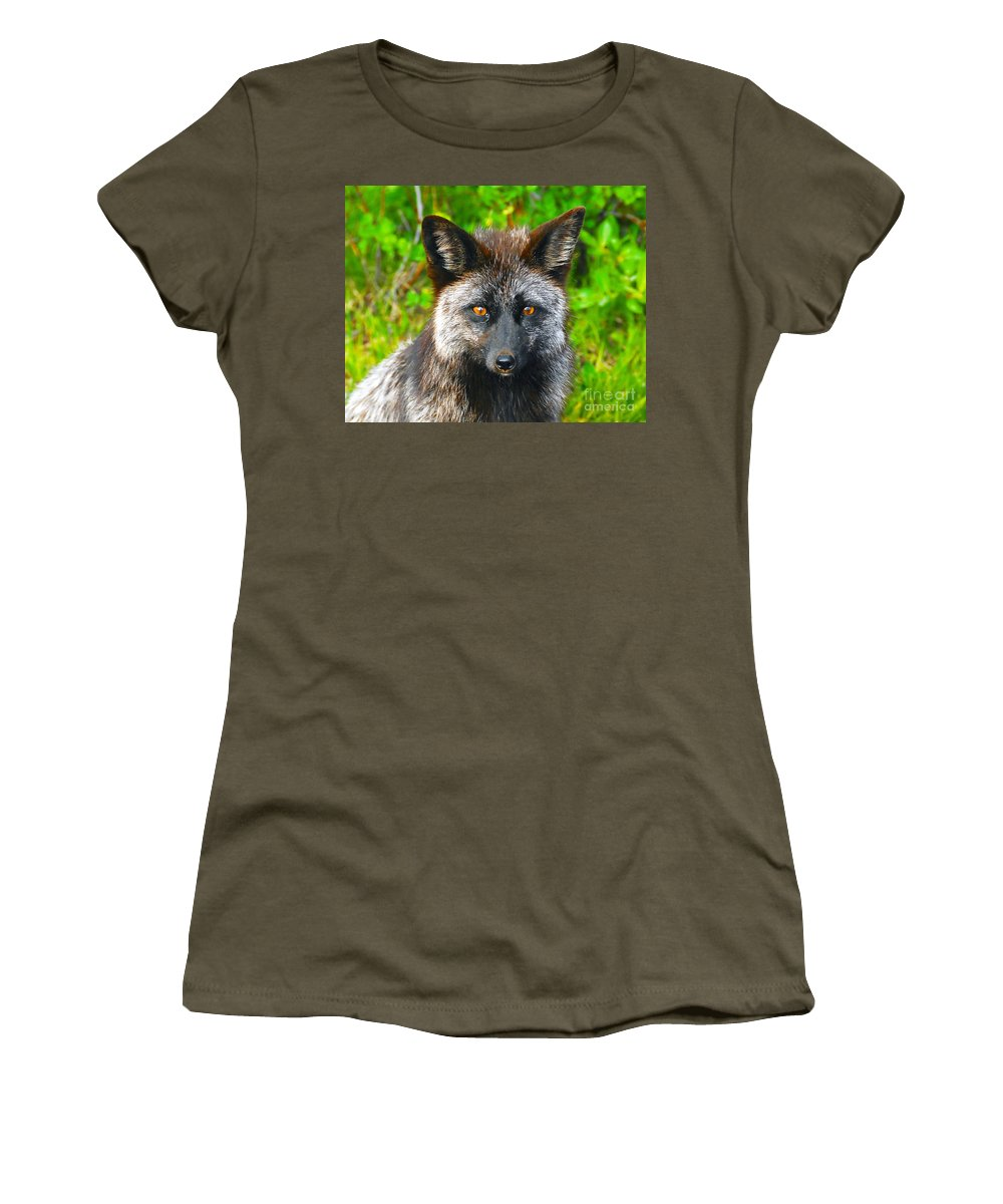Gray Fox Women's T-Shirt (Athletic Fit) featuring the photograph Hungry Eyes by David Lee Thompson