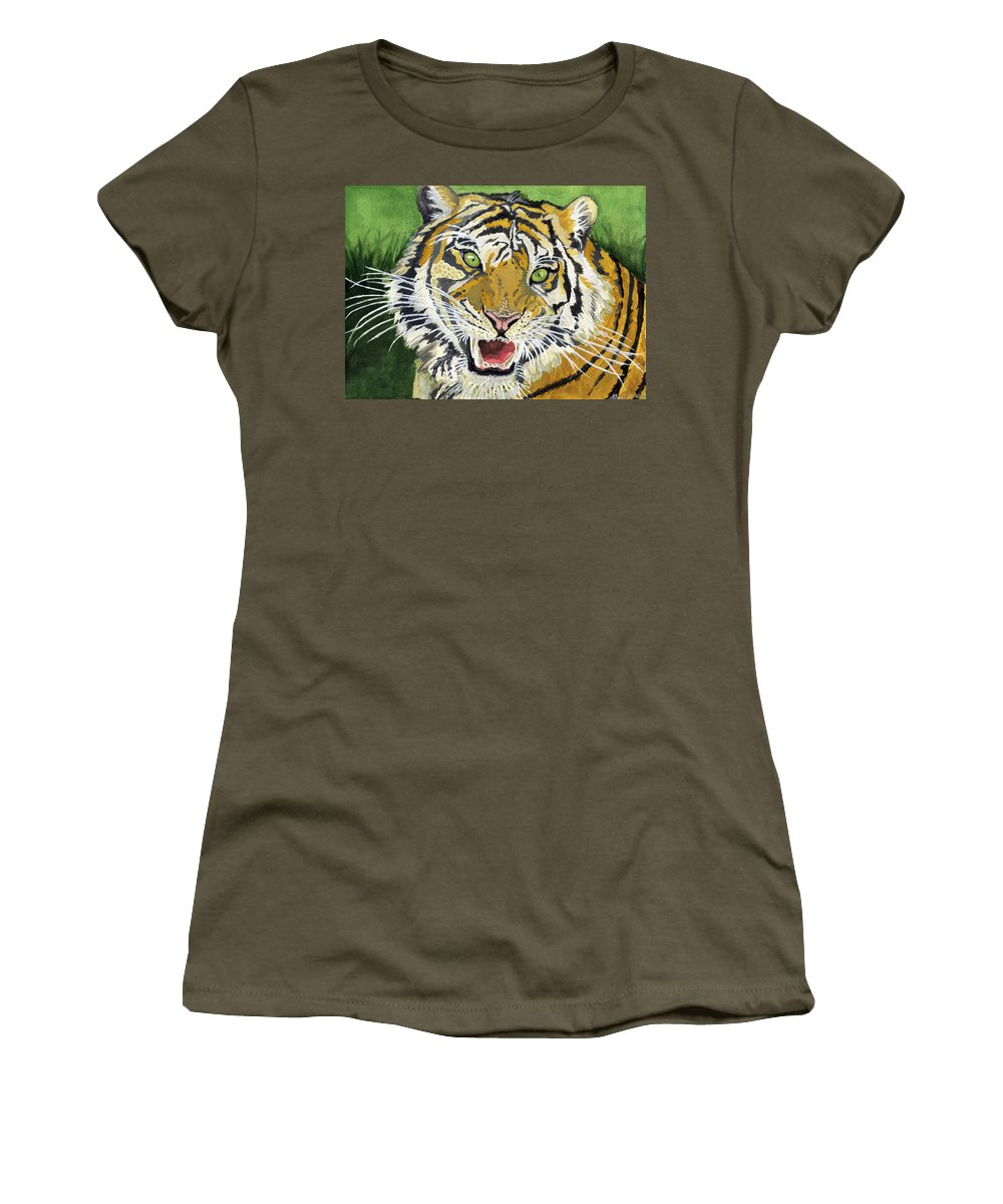 Tiger Women's T-Shirt (Athletic Fit) featuring the painting Hungry Tiger by Alban Dizdari