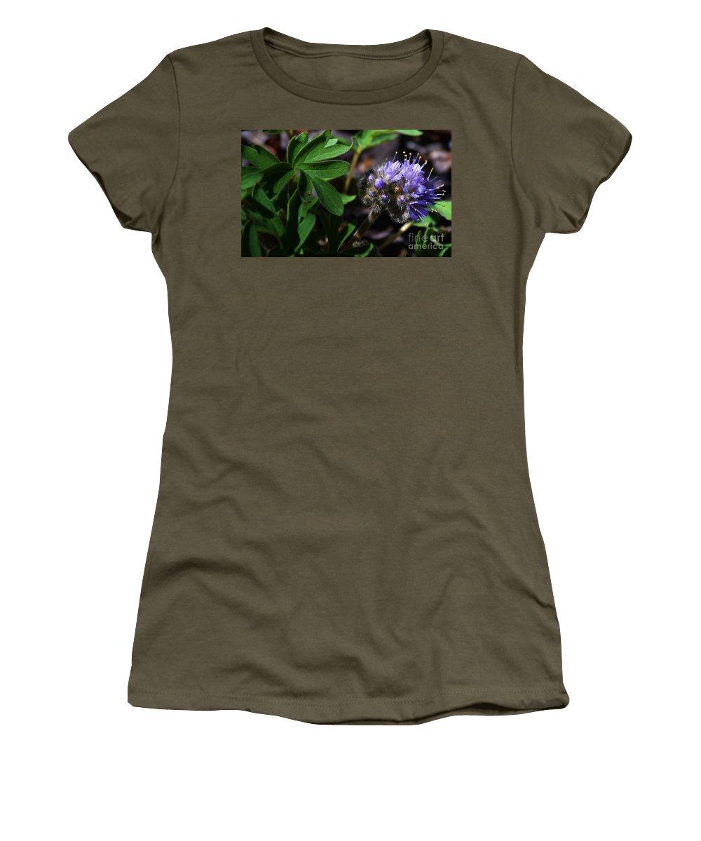 Hydrophyllum Capitatum Women's T-Shirt featuring the photograph Hydrophyllum Capitatum by LKB Art and Photography