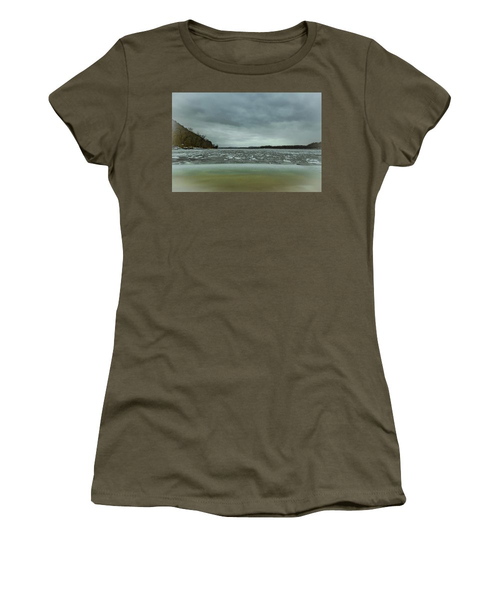 Landscape Women's T-Shirt (Athletic Fit) featuring the photograph Ice Flow Mississippi River by Kevin Argue