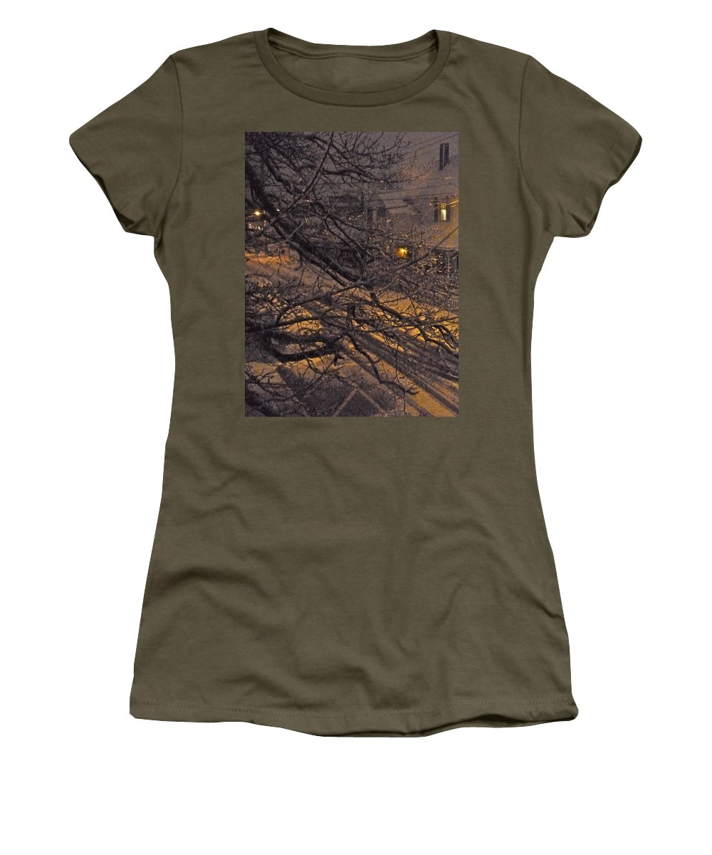 Night Women's T-Shirt featuring the photograph Ice In The Night by Ellen Paull