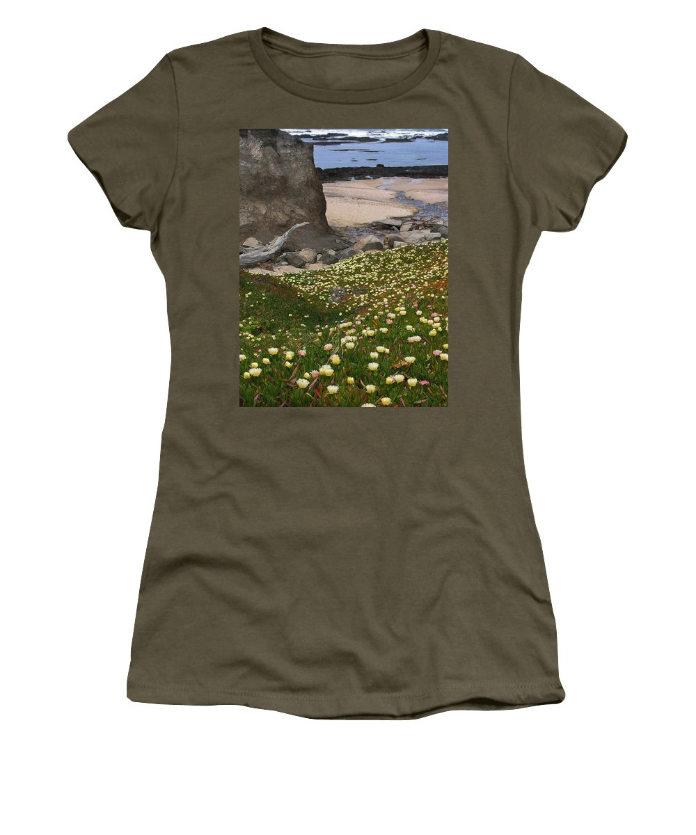 Landscape Women's T-Shirt (Athletic Fit) featuring the photograph Ice Plants On Moss Beach by Karen W Meyer