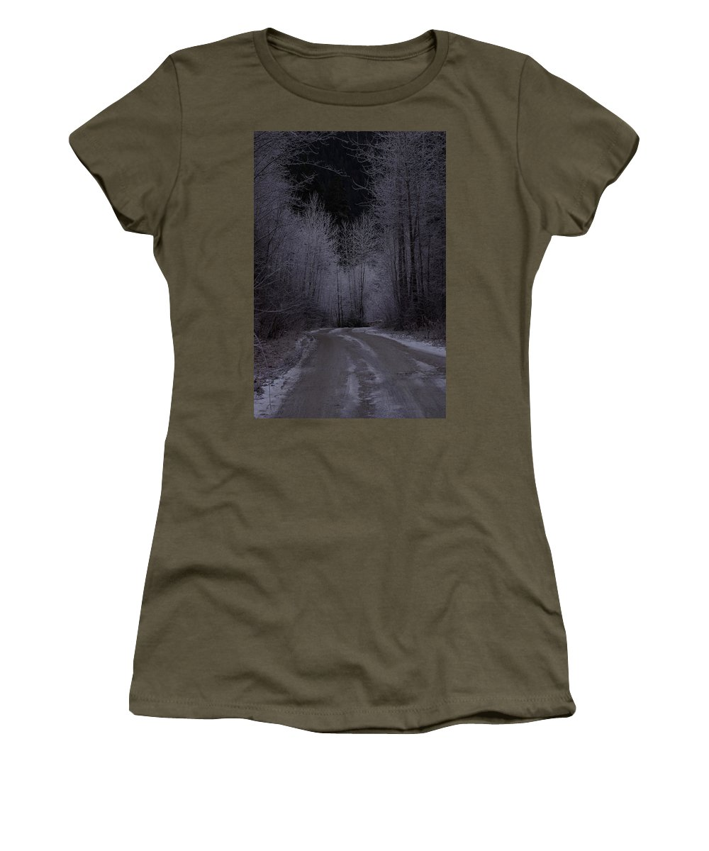 Ice Women's T-Shirt featuring the photograph Ice Road by Cindy Johnston