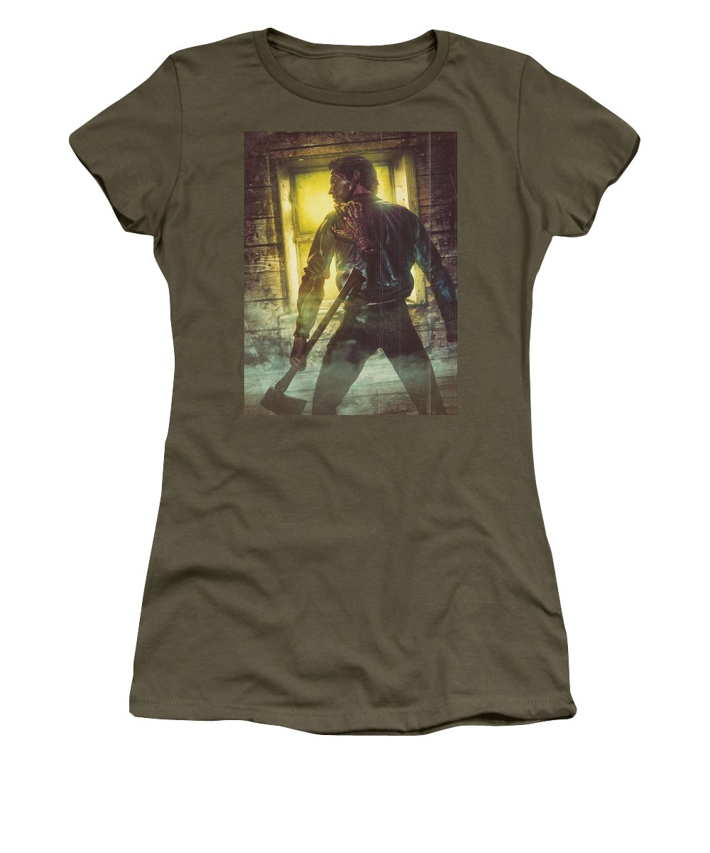 Women's T-Shirt featuring the digital art Icons Of Horror Evil Dead by Clinton Lofthouse