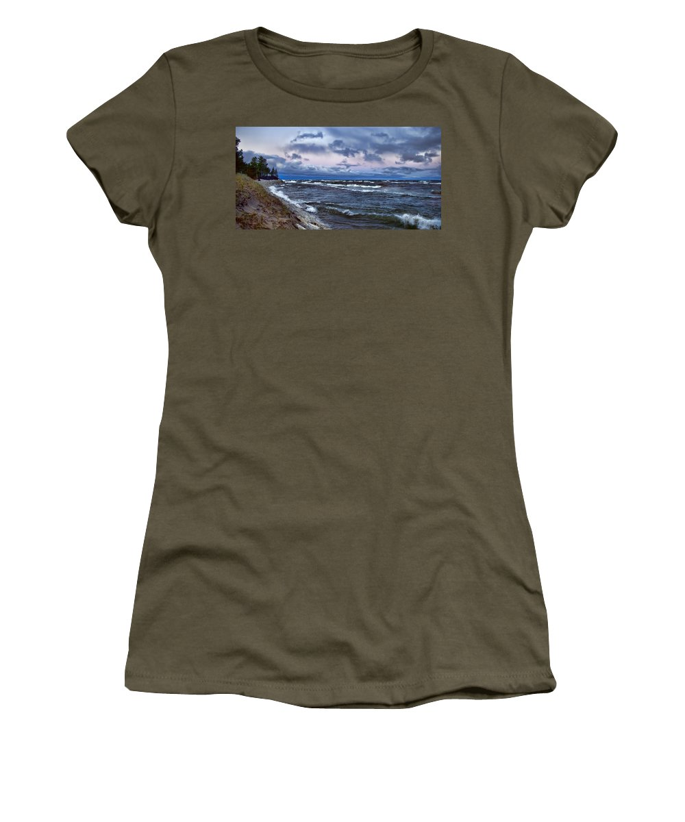 Evie Women's T-Shirt (Athletic Fit) featuring the photograph Icy Waters Of Superior by Evie Carrier
