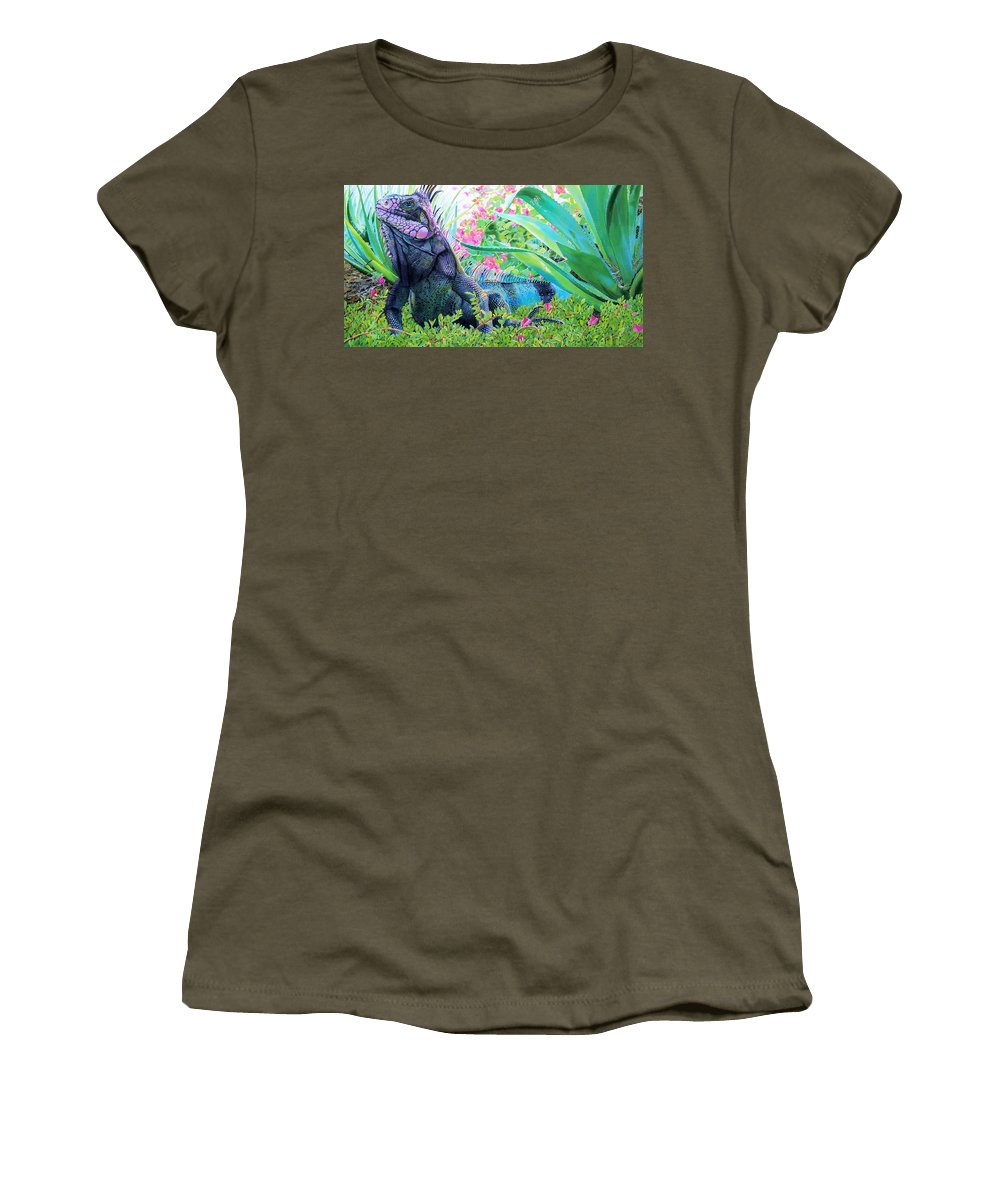 Lizard Women's T-Shirt (Athletic Fit) featuring the painting Iguana by Denny Bond