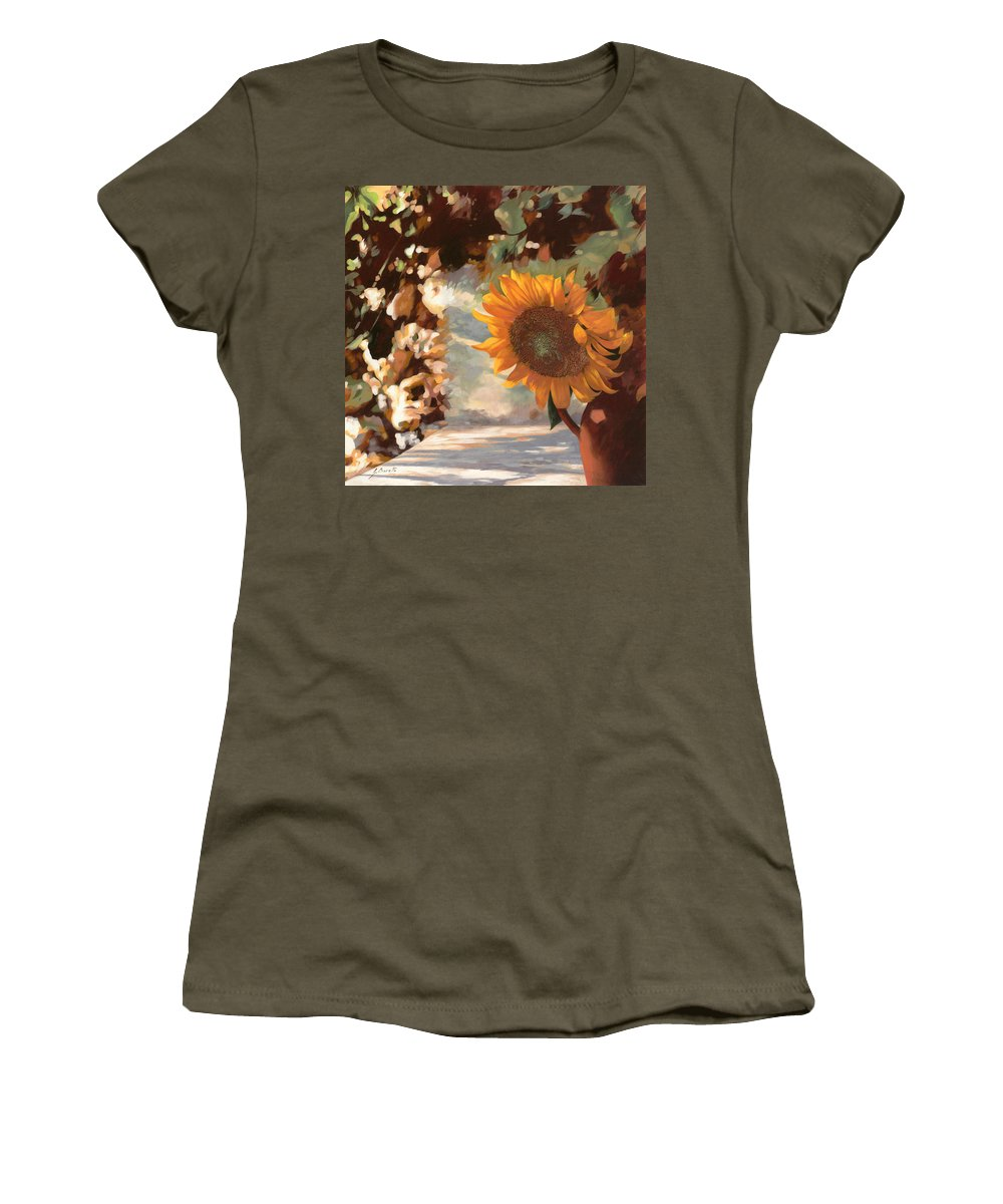 Sunflower.sunflowers Field Women's T-Shirt featuring the painting Il Girasole by Guido Borelli