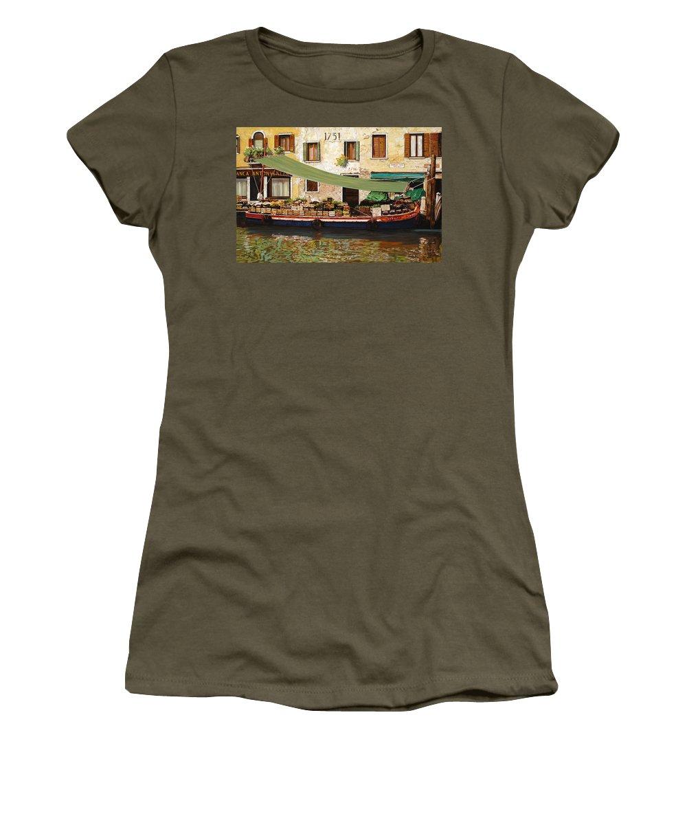 Venice Women's T-Shirt (Athletic Fit) featuring the painting il mercato galleggiante a Venezia by Guido Borelli