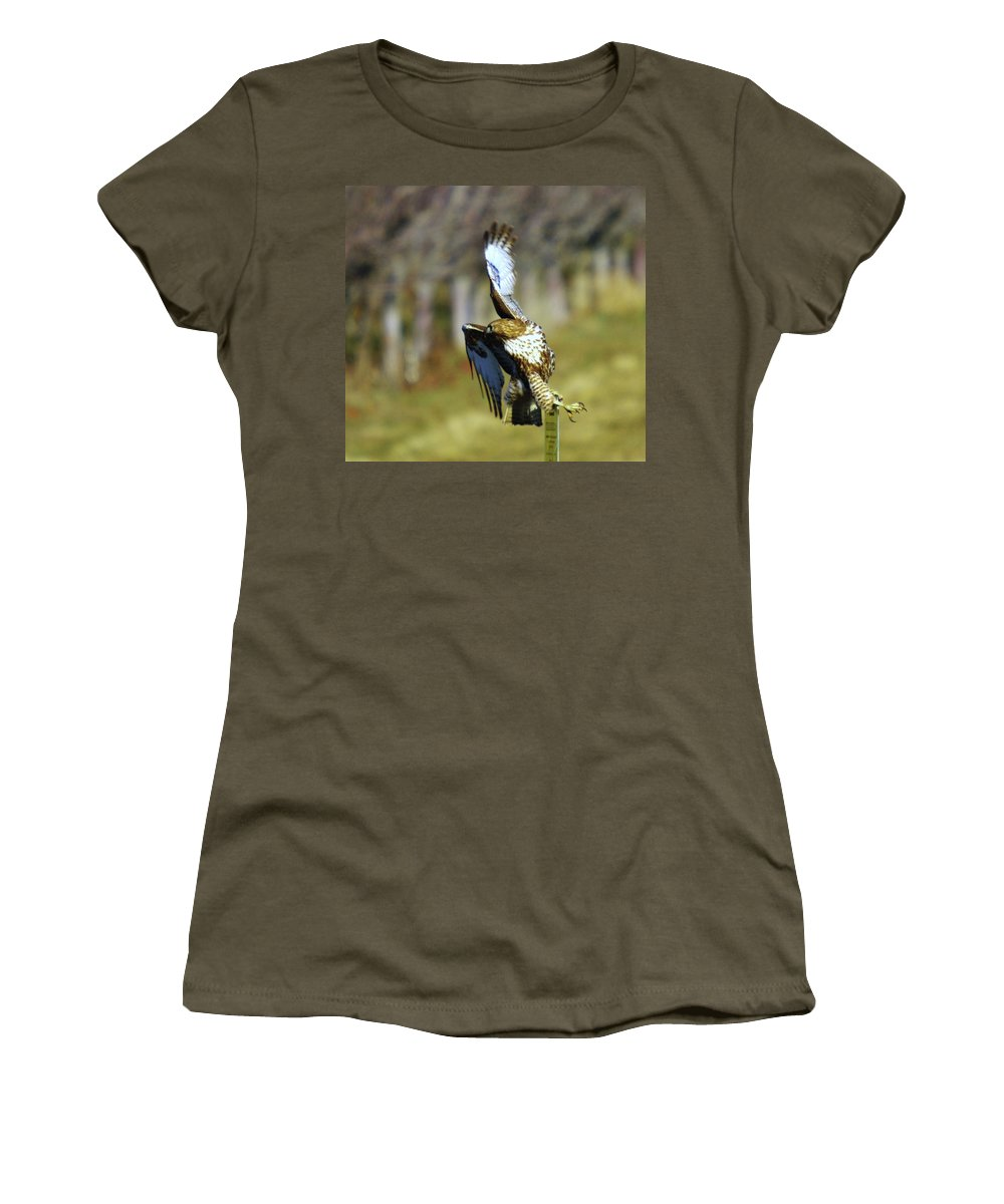 Birds Women's T-Shirt featuring the photograph I'm Out Of Here by Jeff Swan