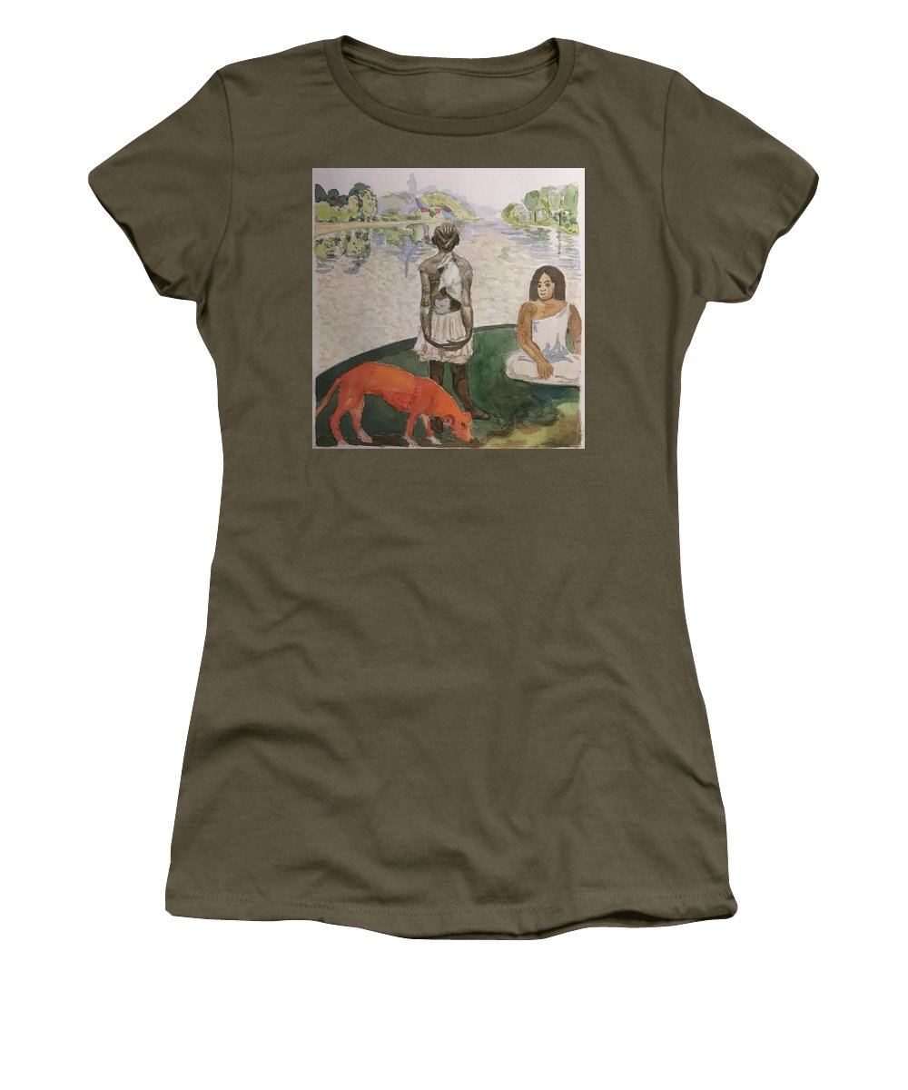 Impressionism Women's T-Shirt (Athletic Fit) featuring the painting Impressed by Yonger Xie