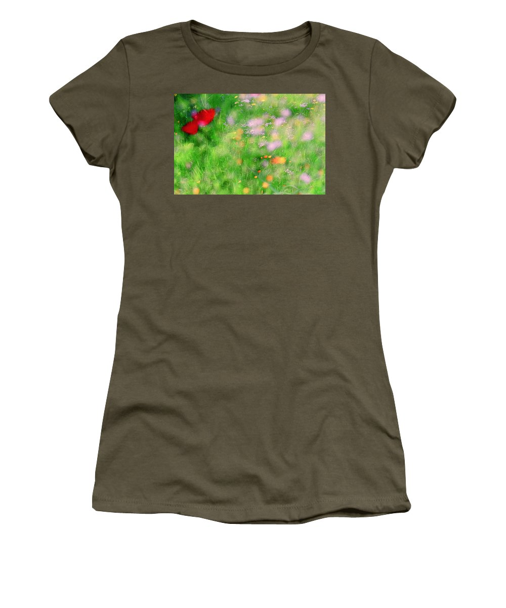 Impressionistic Women's T-Shirt featuring the photograph Impressionistic Blossom 5 At Britain Park by Dubi Roman